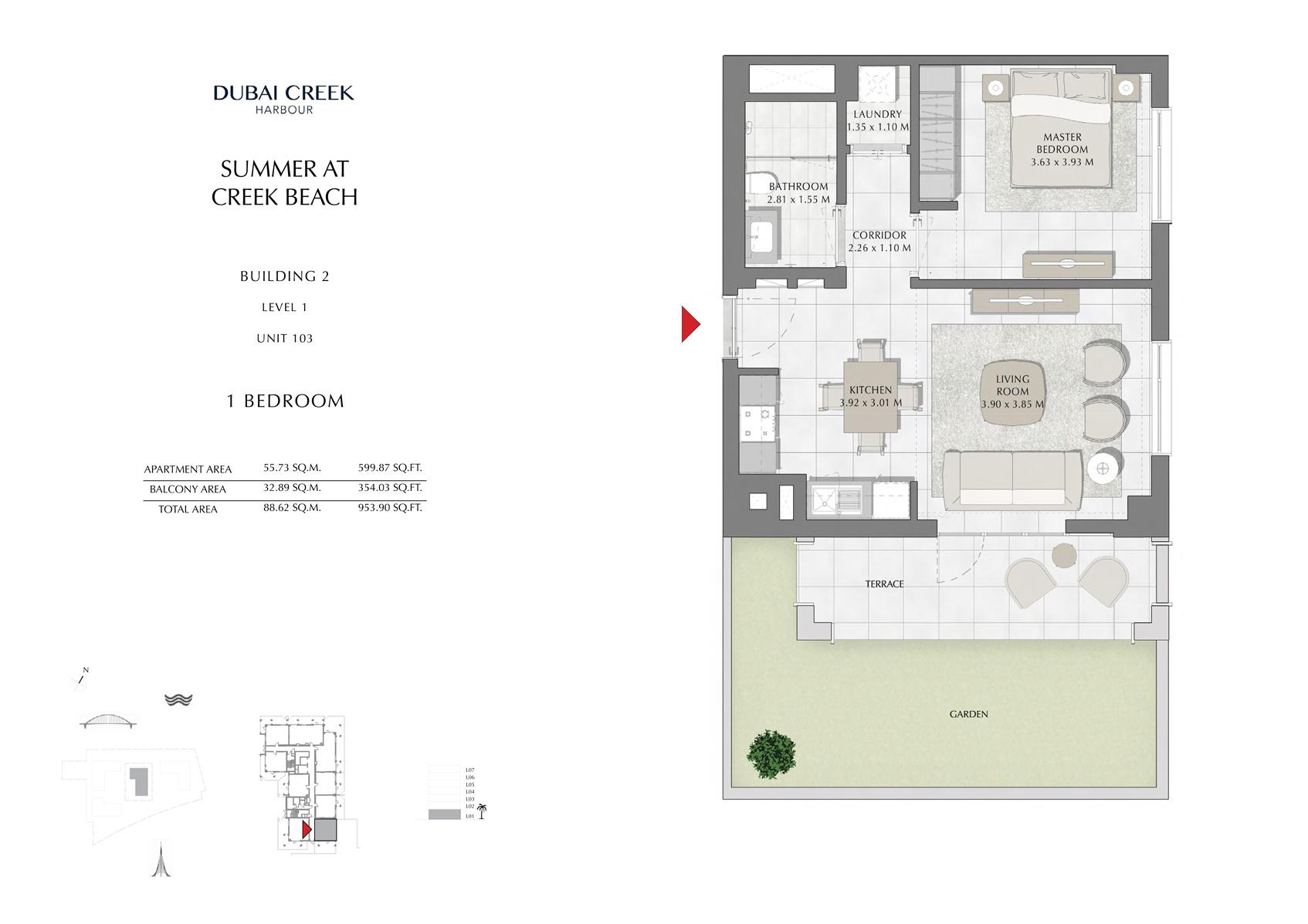 1 Br Building 2 Level 1 Unit 103, Size 953 Sq Ft