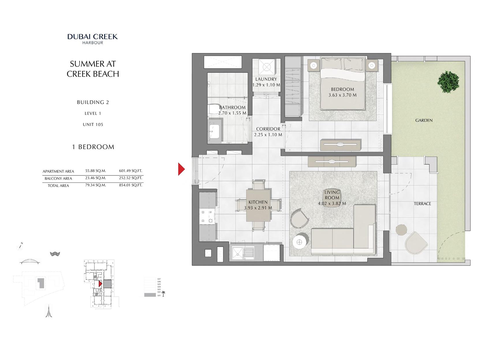 1 Br Building 2 Level 1 Unit 105, Size 854 Sq Ft