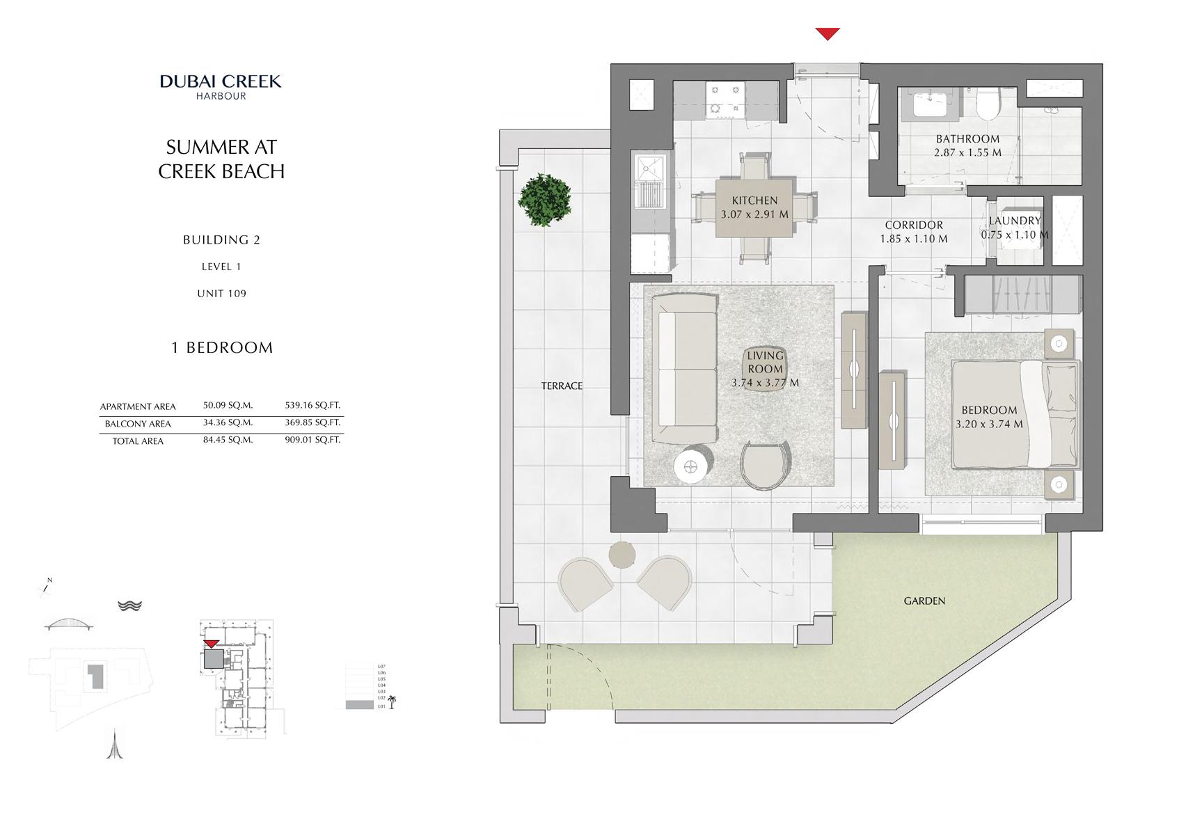 1 Br Building 2 Level 1 Unit 109, Size 909 Sq Ft