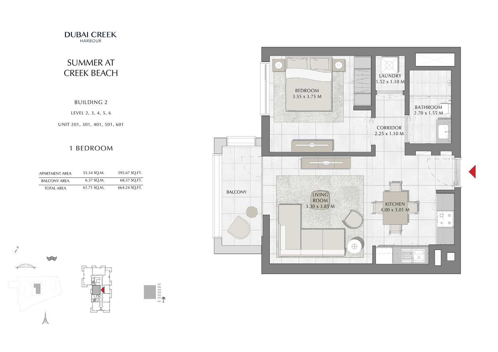1 Br building 2 Level-2-3-4-5-6 Unit-201-301-401-501-601, Size 664 Sq Ft
