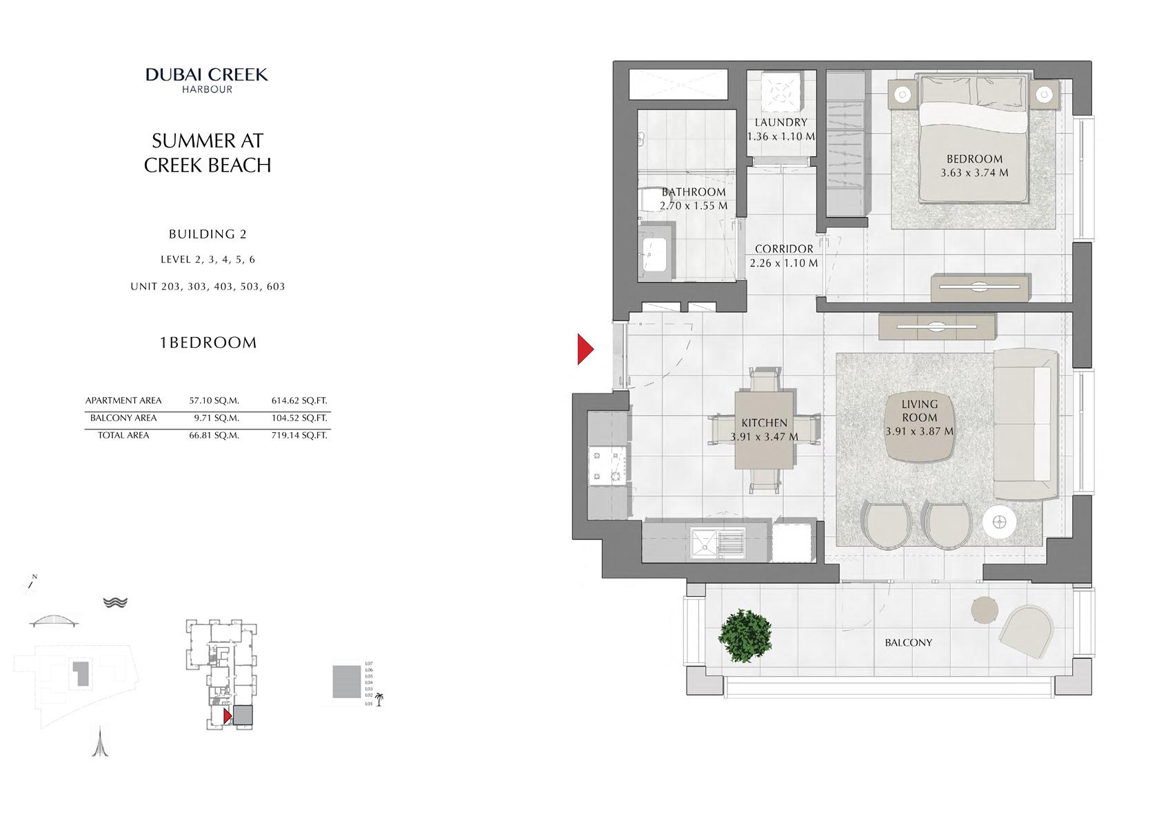 1 Br Building 2 Level-2-3-4-5-6 Unit-203-303-403-503-603, Size 719 Sq Ft