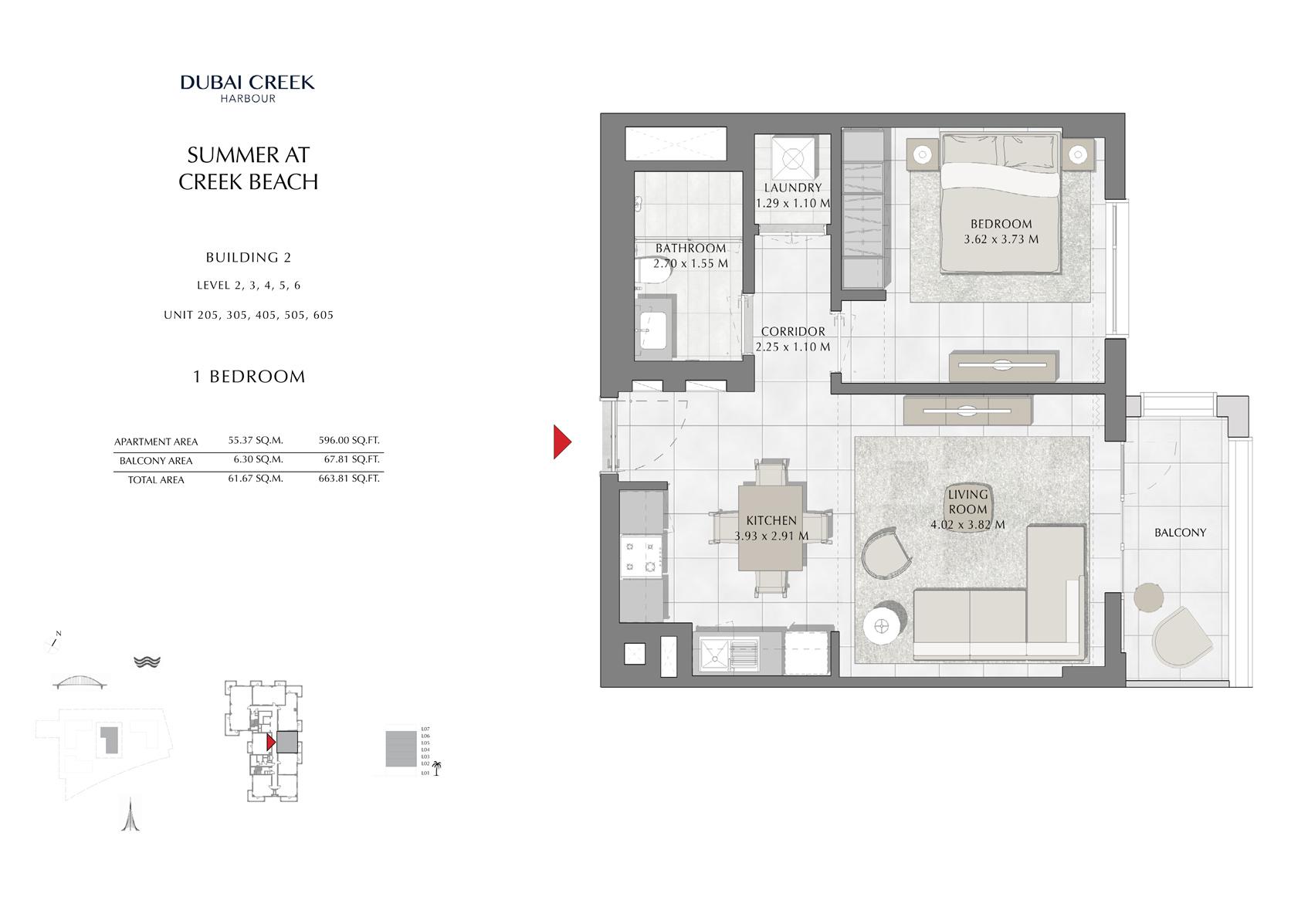 1 Br Building 2 Level-2-3-4-5-6 Unit-205-305-405-505-605, Size 663 Sq Ft