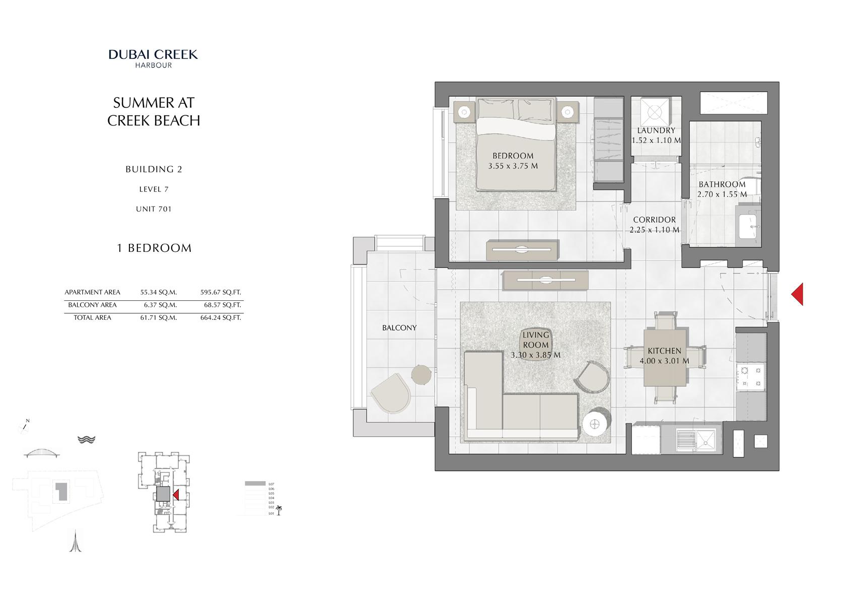 1 Br Building 2 Level 7 Unit 701, Size 664 Sq Ft