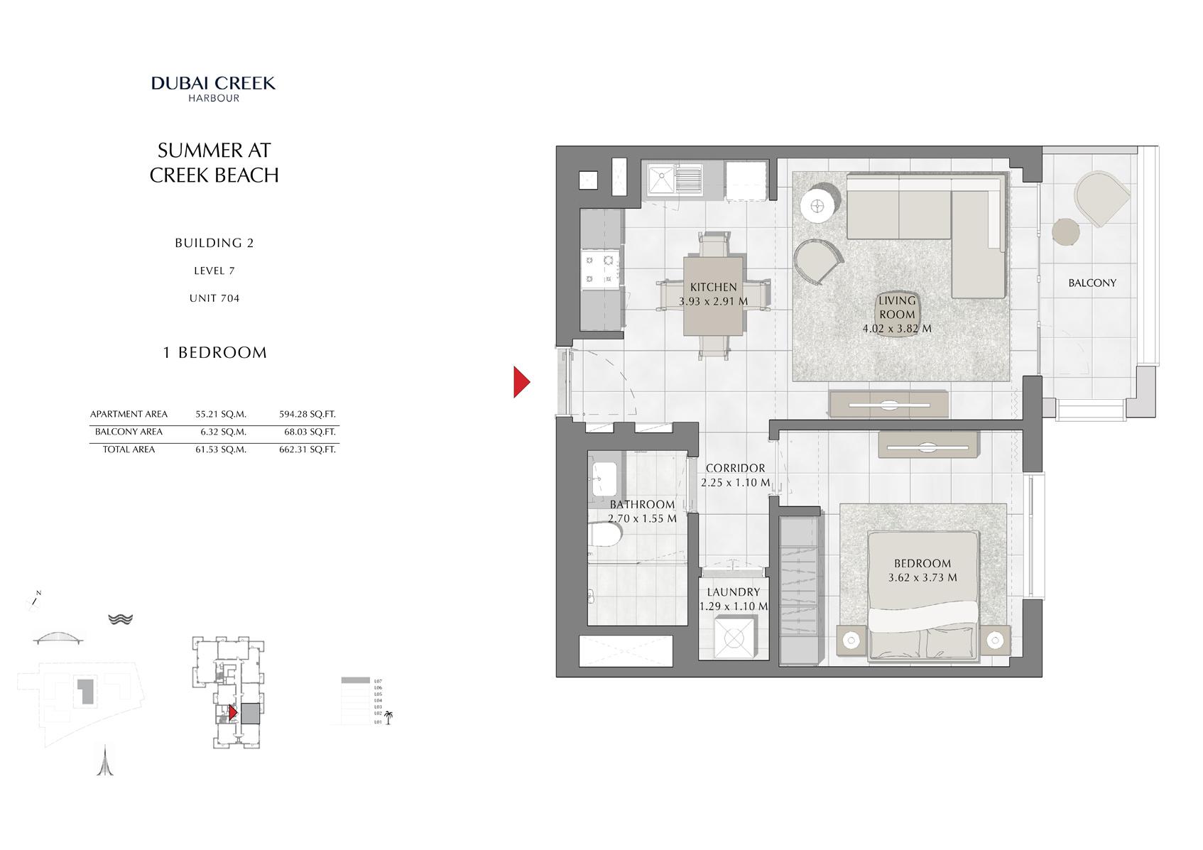 1 Br Building 2 Level 7 Unit 704, Size 662 Sq Ft