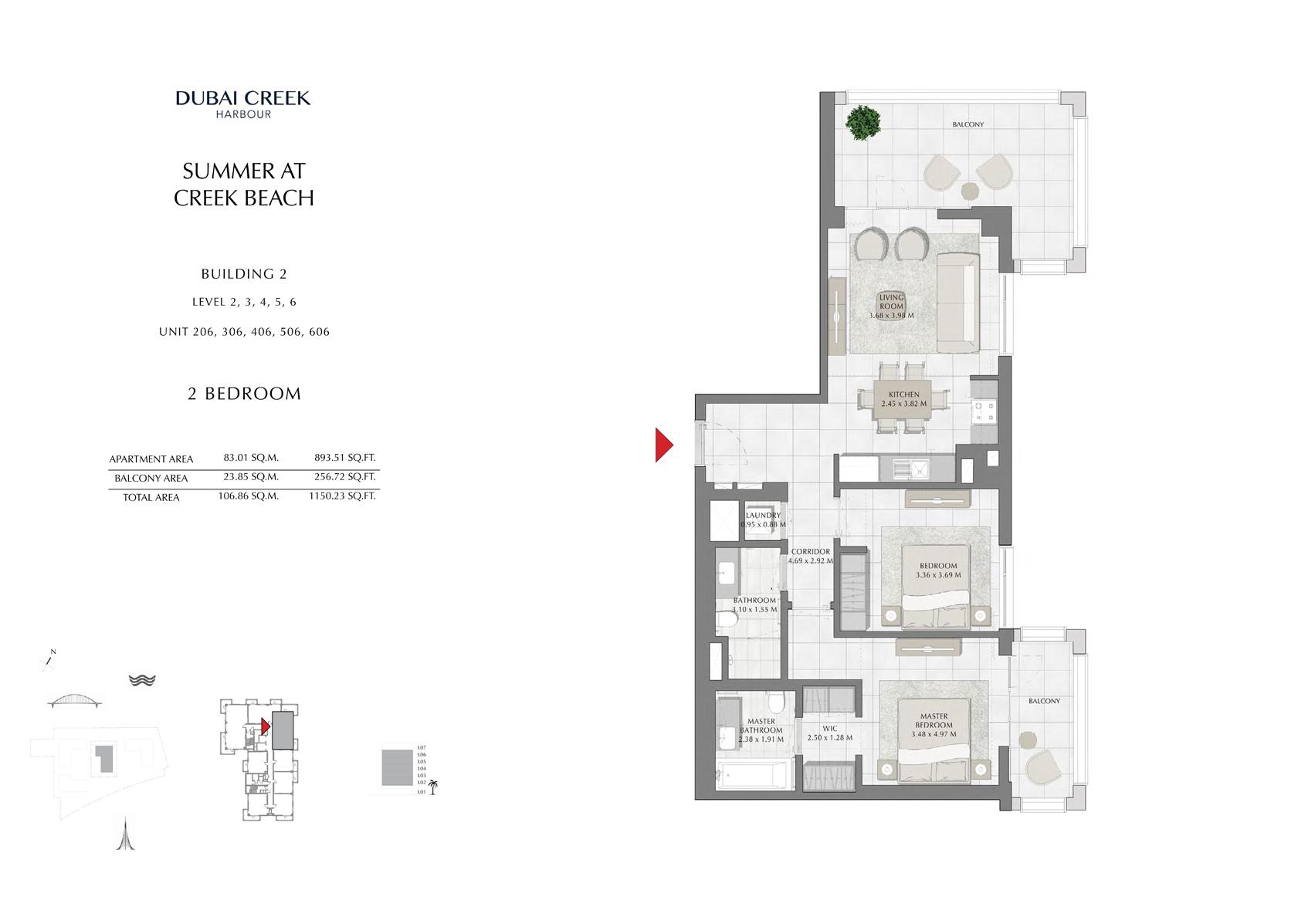 2 Br Building 2 Level-2-3-4-5-6 Unit-206-306-406-506-606, Size 1150 Sq Ft