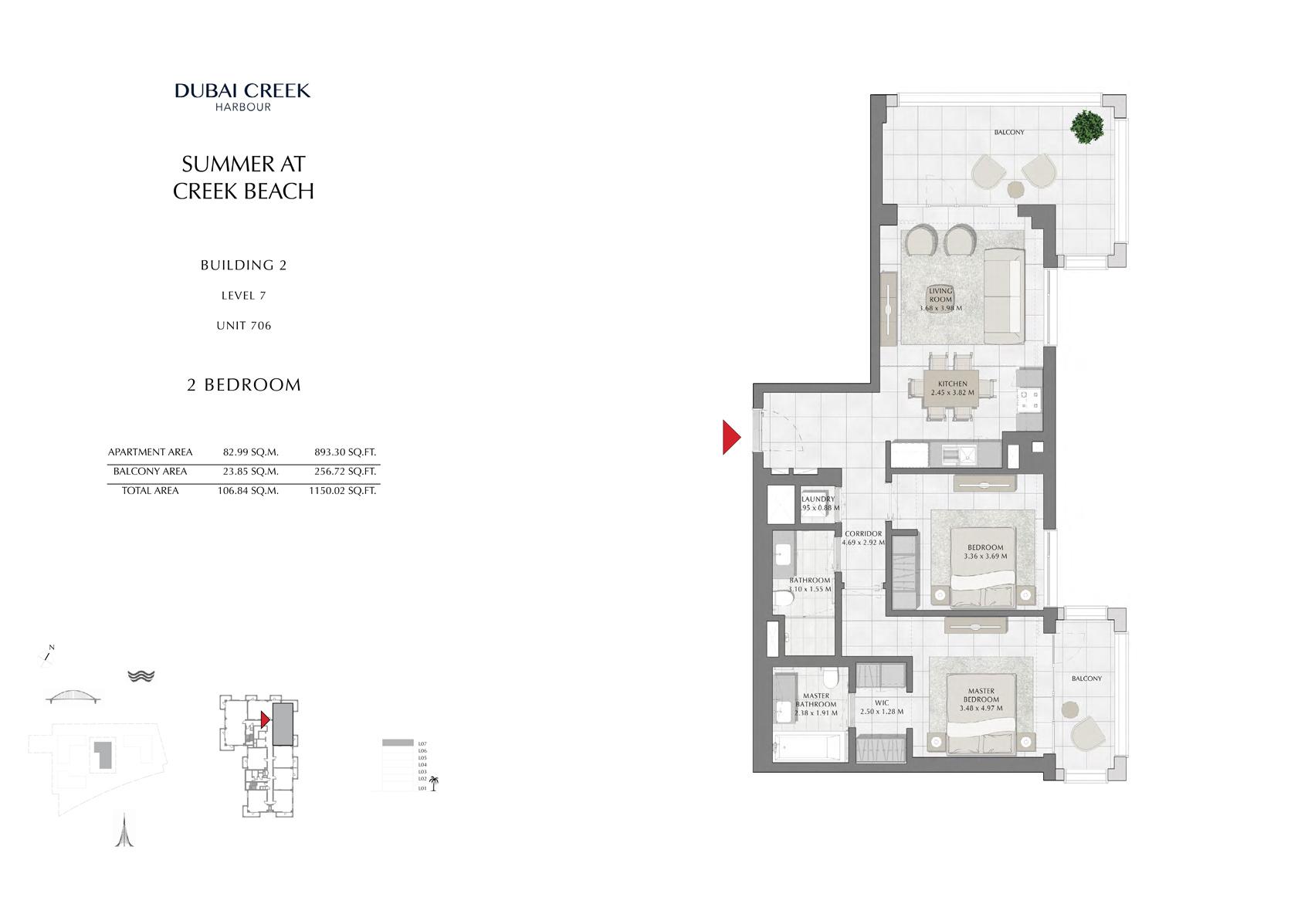 2 Br Building 2 Level 7 Unit 706, Size 1150 Sq Ft