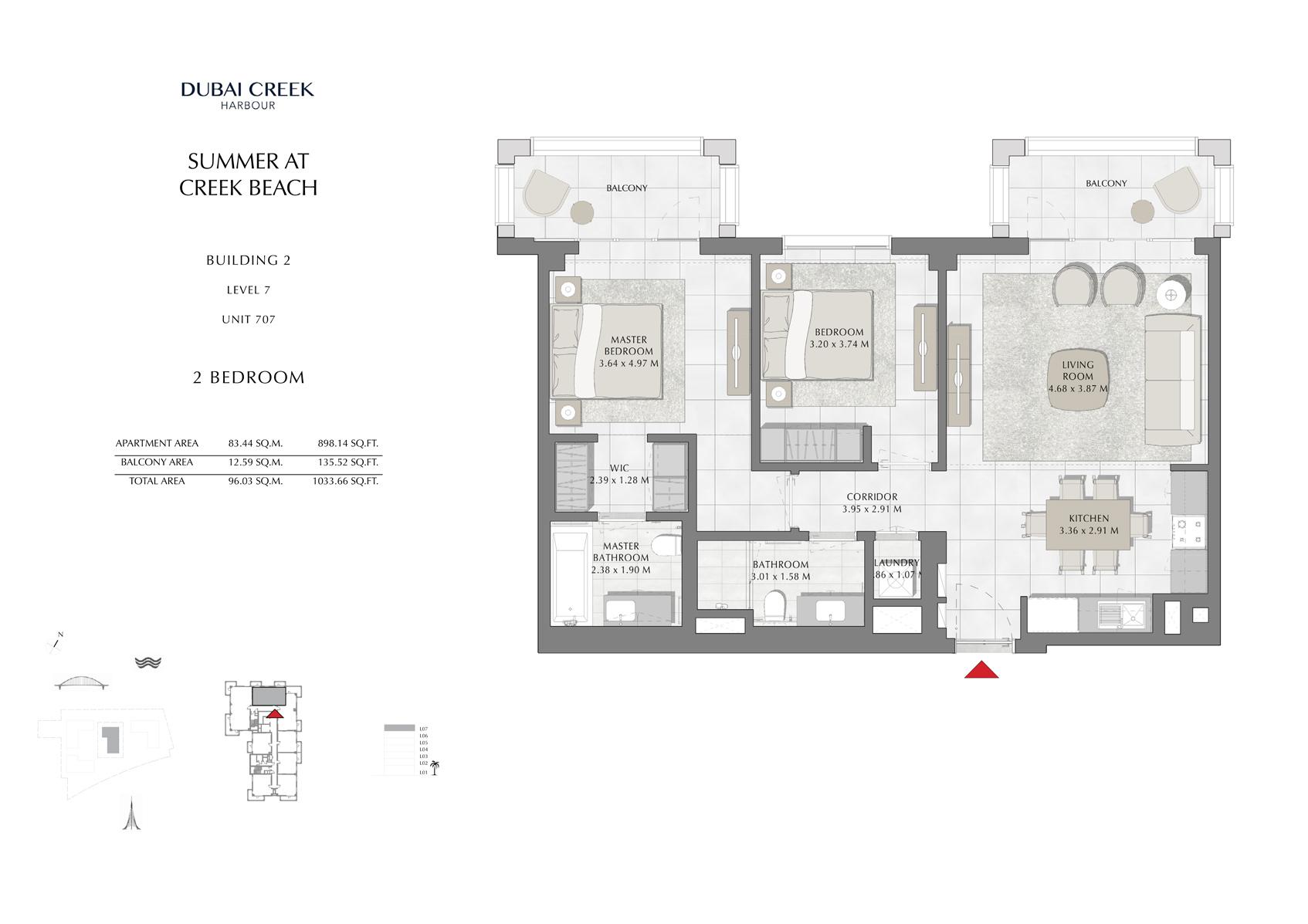 2 Br Building 2 Level 7 Unit 707, Size 1033 Sq Ft