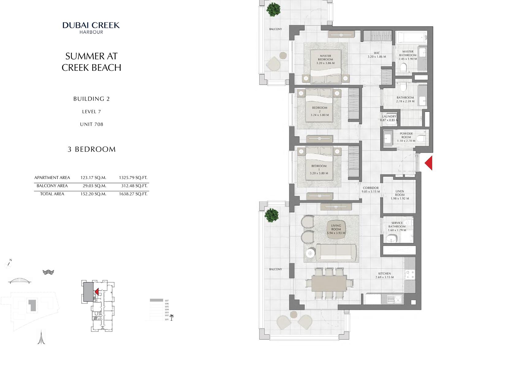 3 Br Building 2 Level 7 Unit 708, Size 1638 Sq Ft