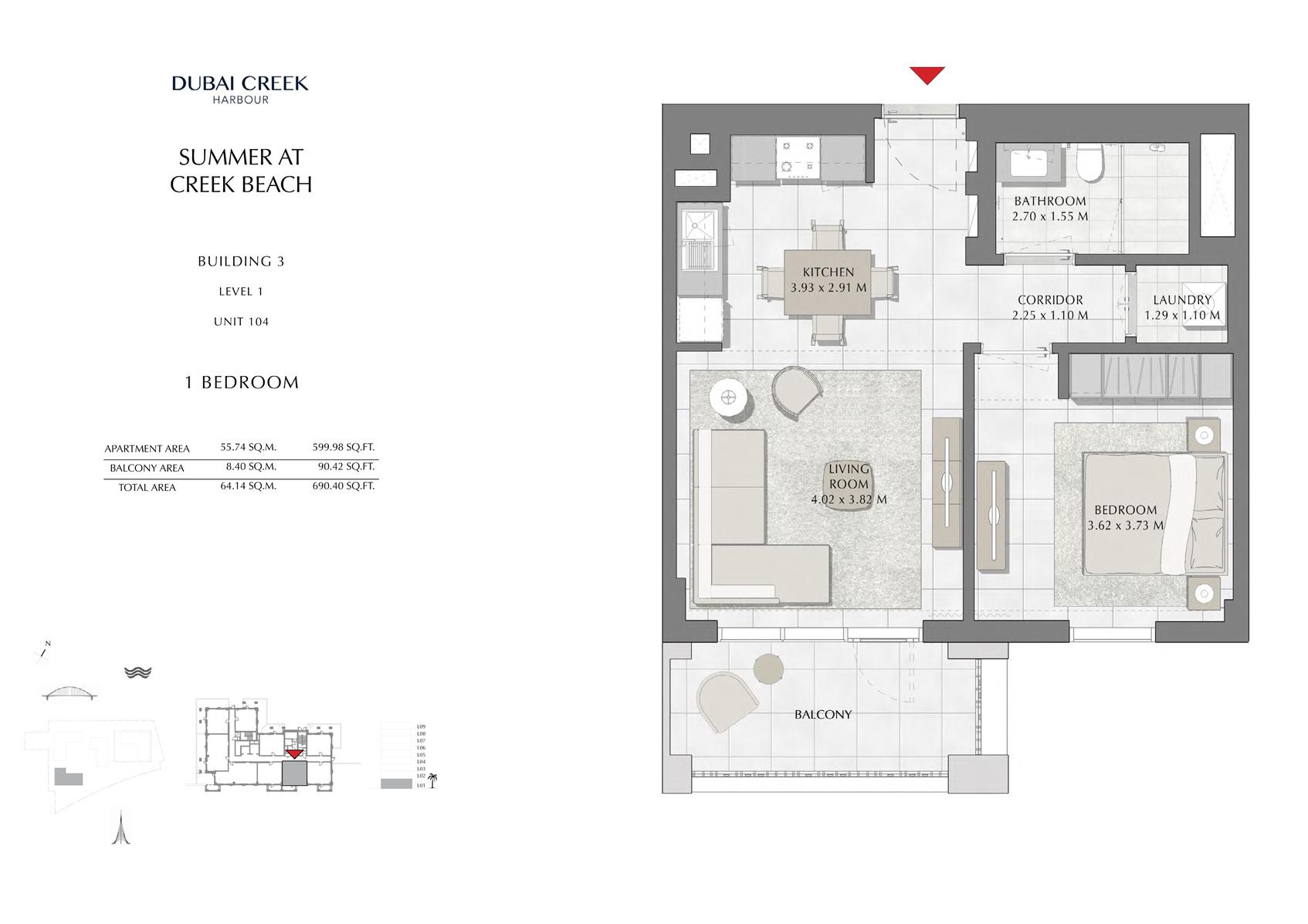 1 Br Building 3 Level 1 Unit 104, Size 690 Sq Ft