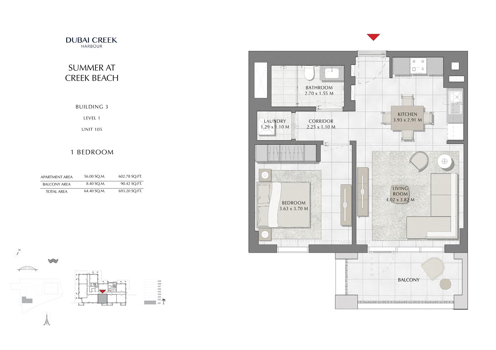 1 Br Building 3 Level 1 Unit 105, Size 693 Sq Ft