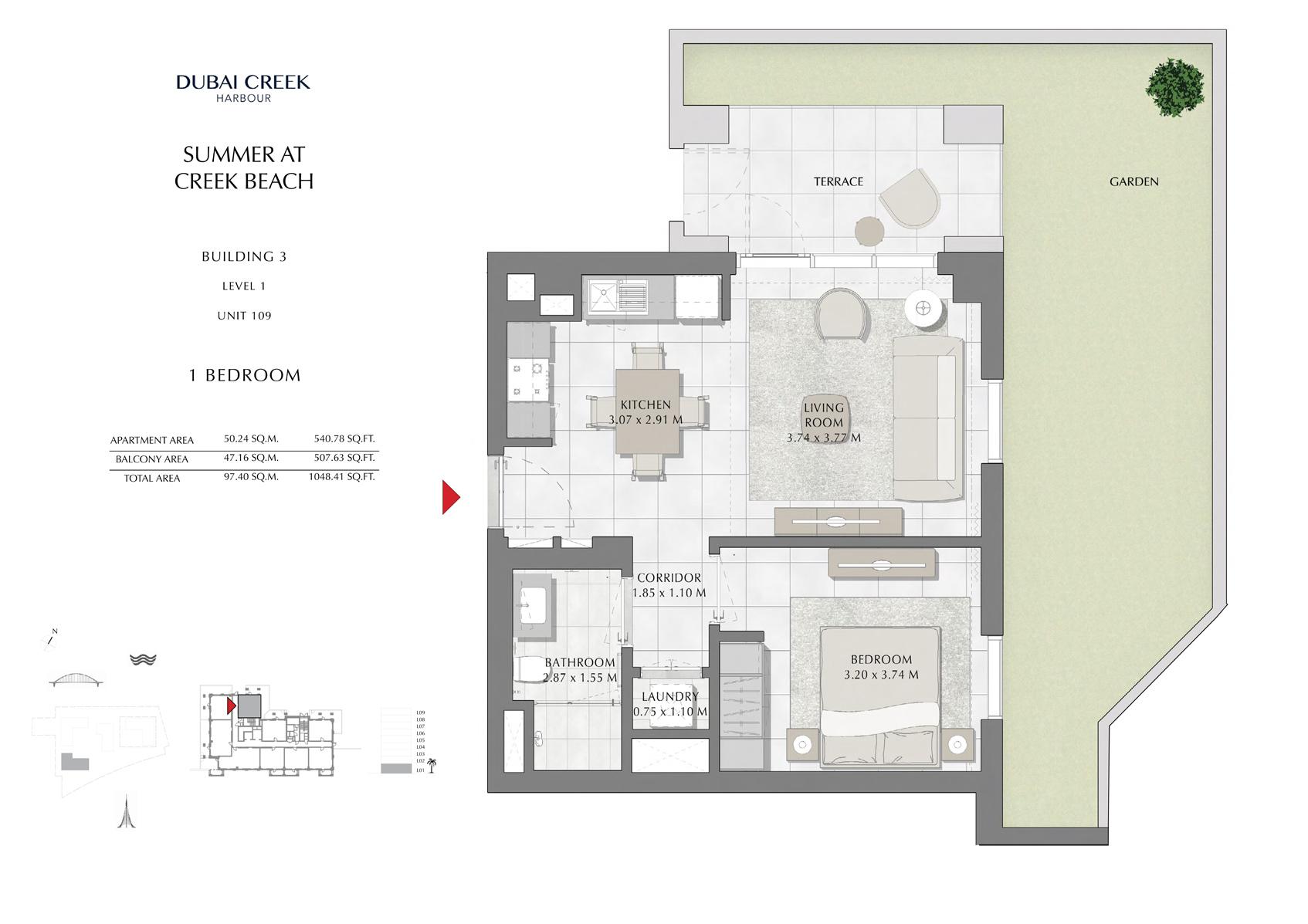 1 Br Building 3 Level 1 Unit 109, Size 1048 Sq Ft