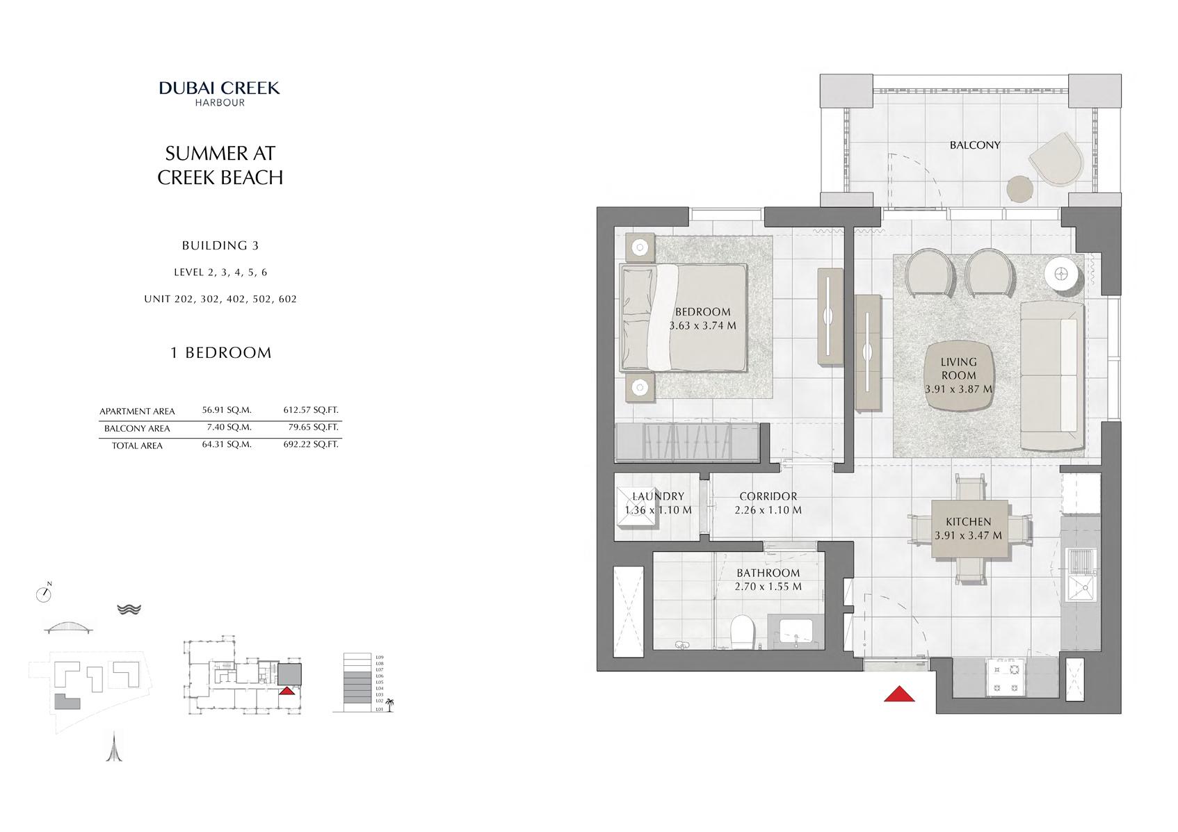 1 Br Building 3 Level-2-3-4-5-6 Unit-202-302-402-502-602, Size 692 Sq Ft