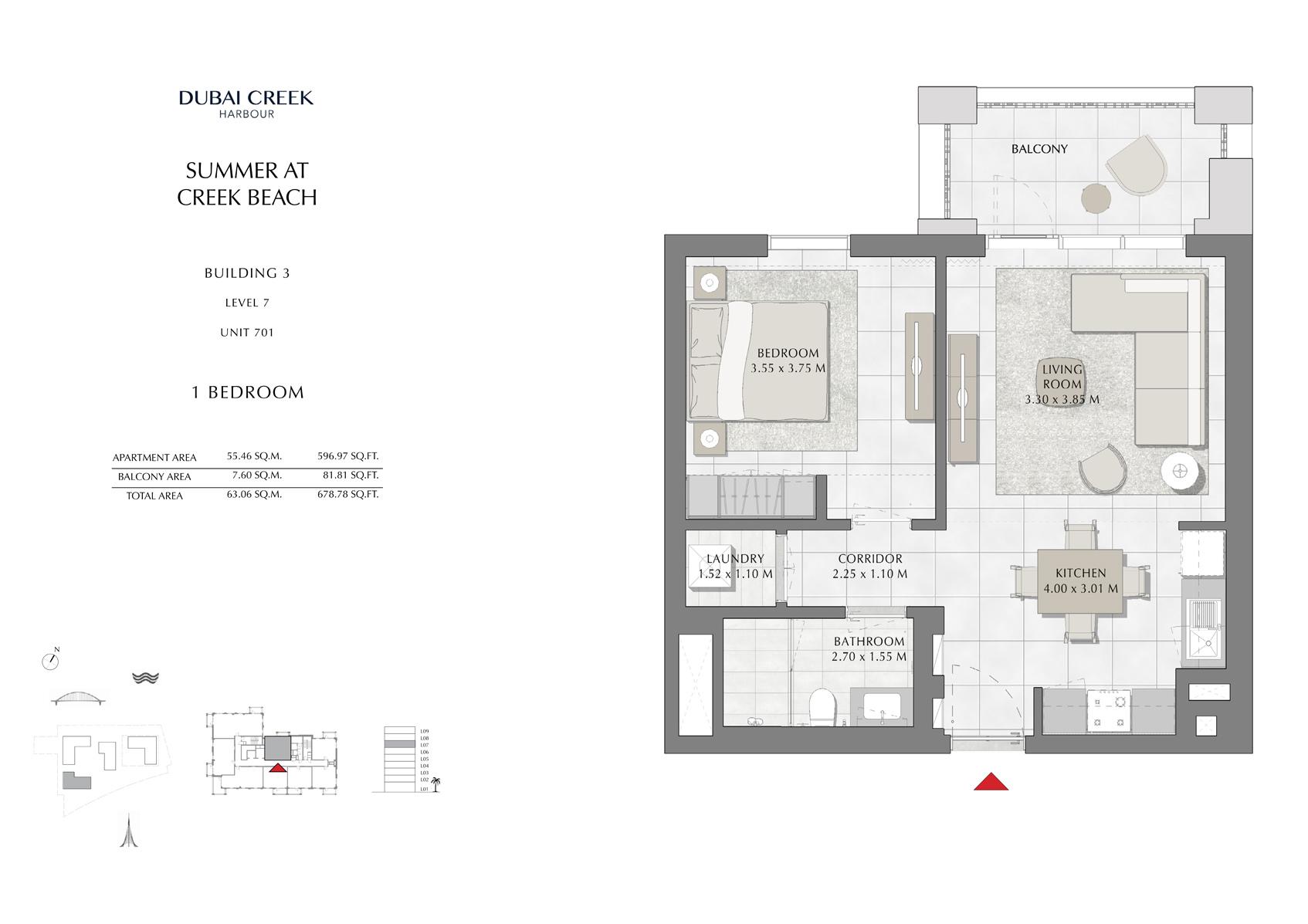 1 Br Building 3 Level 7 Unit 701, Size 678 Sq Ft