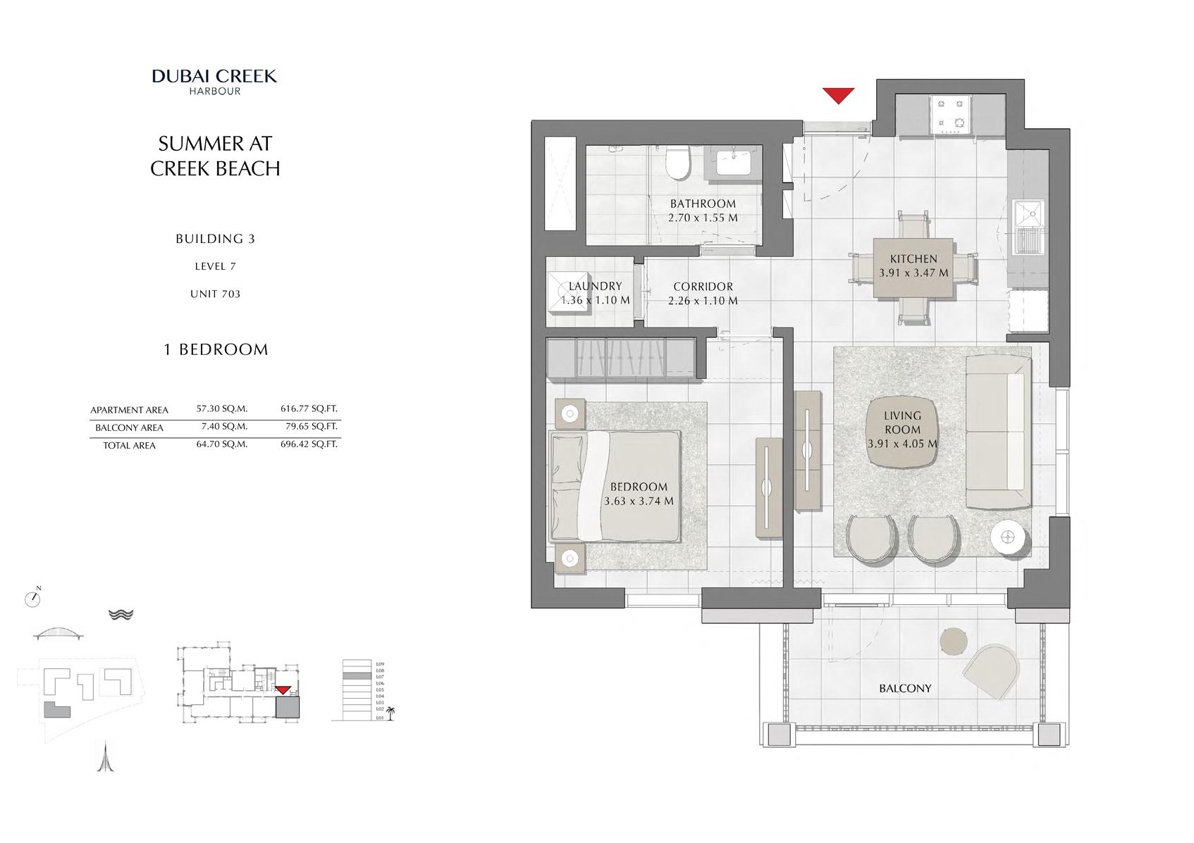 1 Br Building 3 Level 7 Unit 703, Size 696 Sq Ft