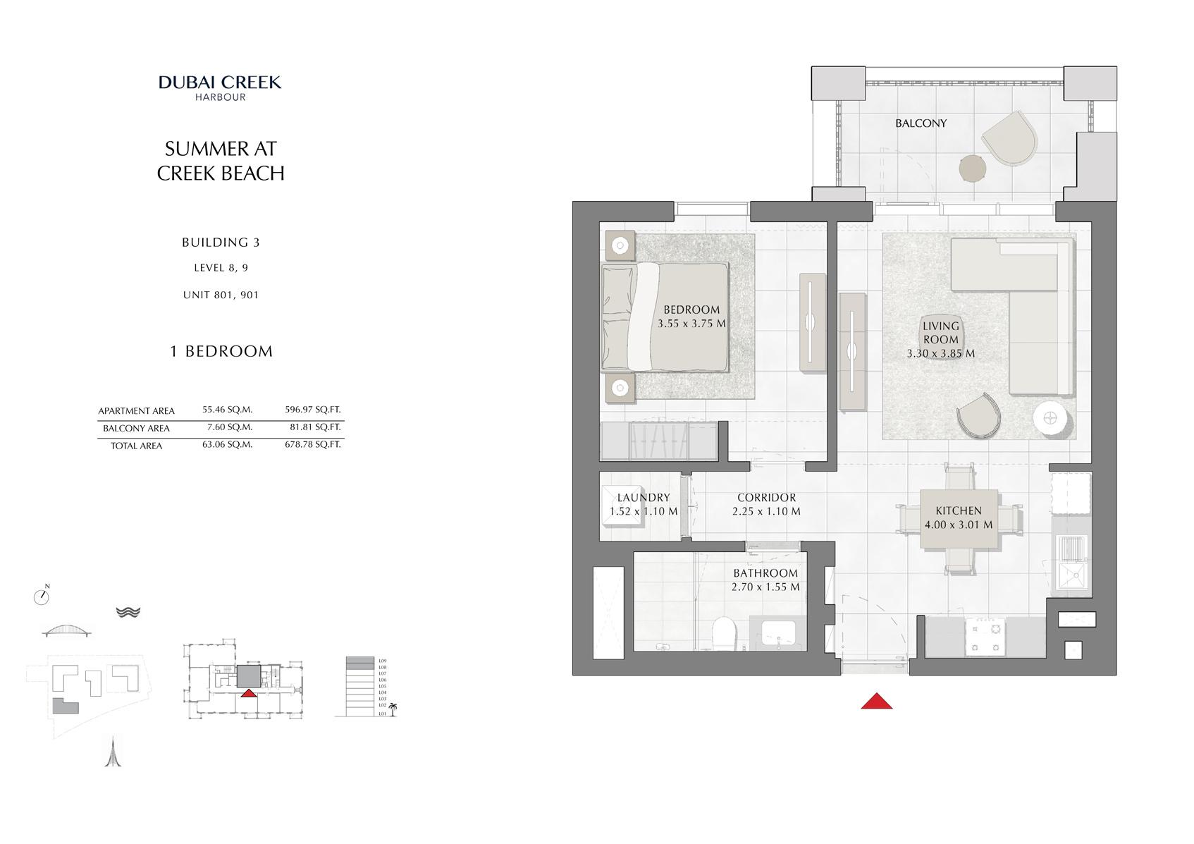 1 Br Building 3 Level-8-9 Unit 801-901, Size 678 Sq Ft
