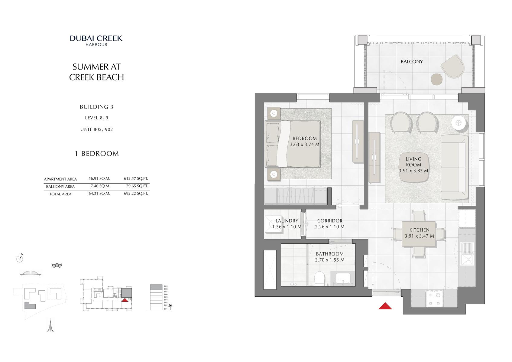 1 Br Building 3 Level-8-9 Unit 802-902, Size 692 Sq Ft
