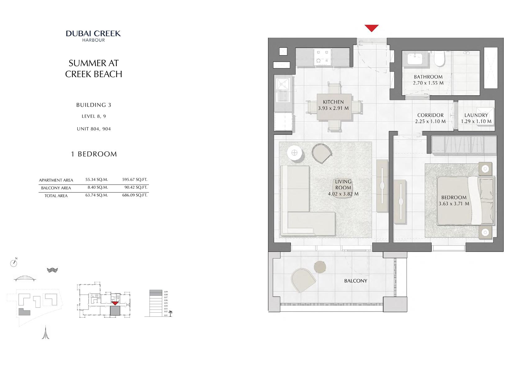 1 Br Building 3 Level-8-9 Unit 804-904, Size 686 Sq Ft