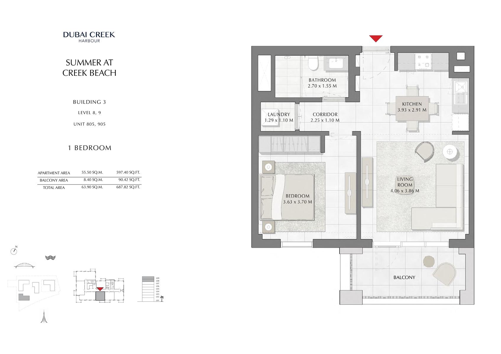 1 Br Building 3 Level-8-9 Unit 805-905, Size 687 Sq Ft
