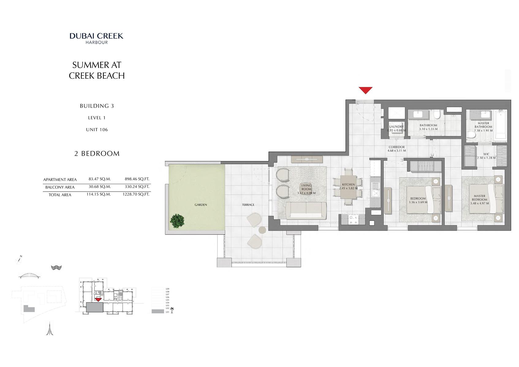 2 Br Building 3 Level 1 Unit 106, Size 1228 Sq Ft