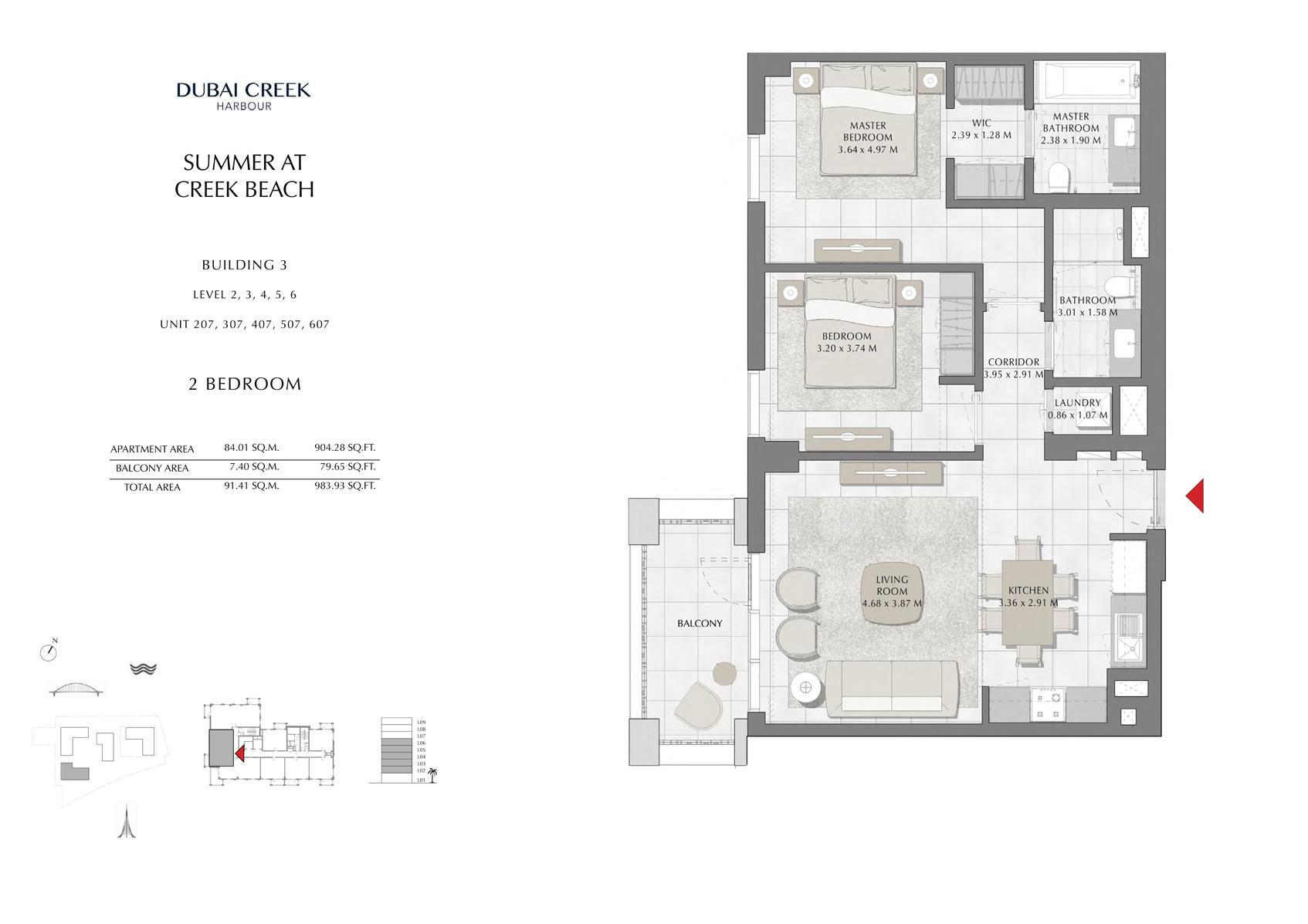 2 Br Building 3 Level-2-3-4-5-6 Unit-207-307-407-507-607, Size 983 Sq Ft