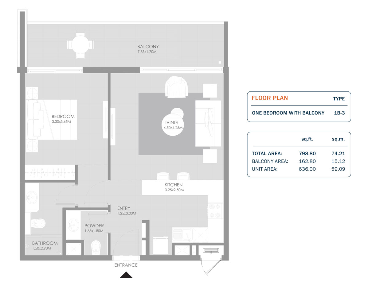 1 Bedroom, Size 798.80 Sq.ft