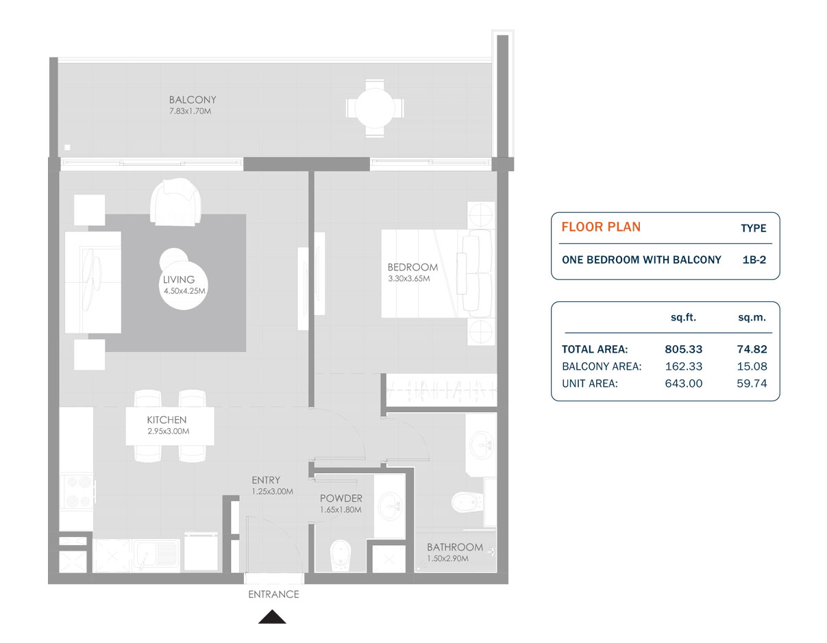 1 Bedroom, Size 805.33 Sq.ft