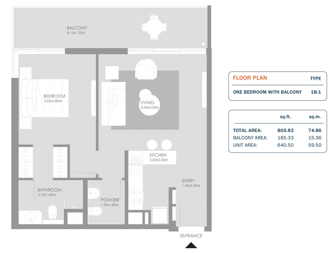 1 Bedroom, Size 805.83 Sq.ft