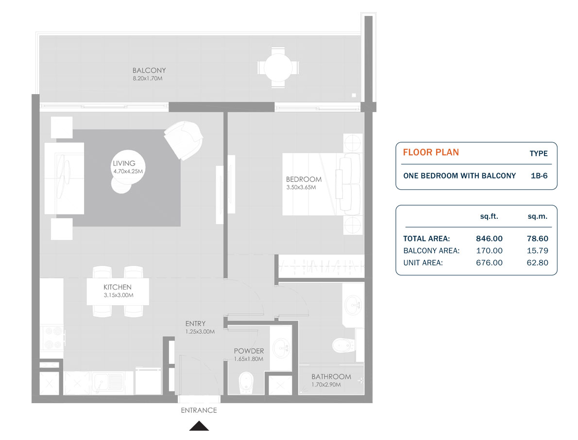 1 Bedroom, Size 846.00 Sq.ft