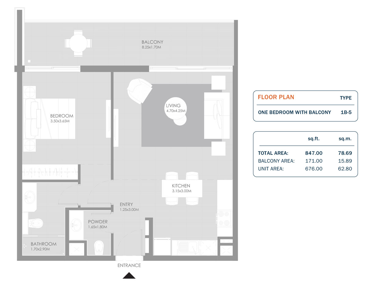 1 Bedroom, Size 847.00 Sq.ft
