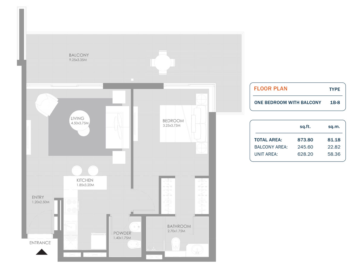 1 Bedroom, Size 873.80 Sq.ft