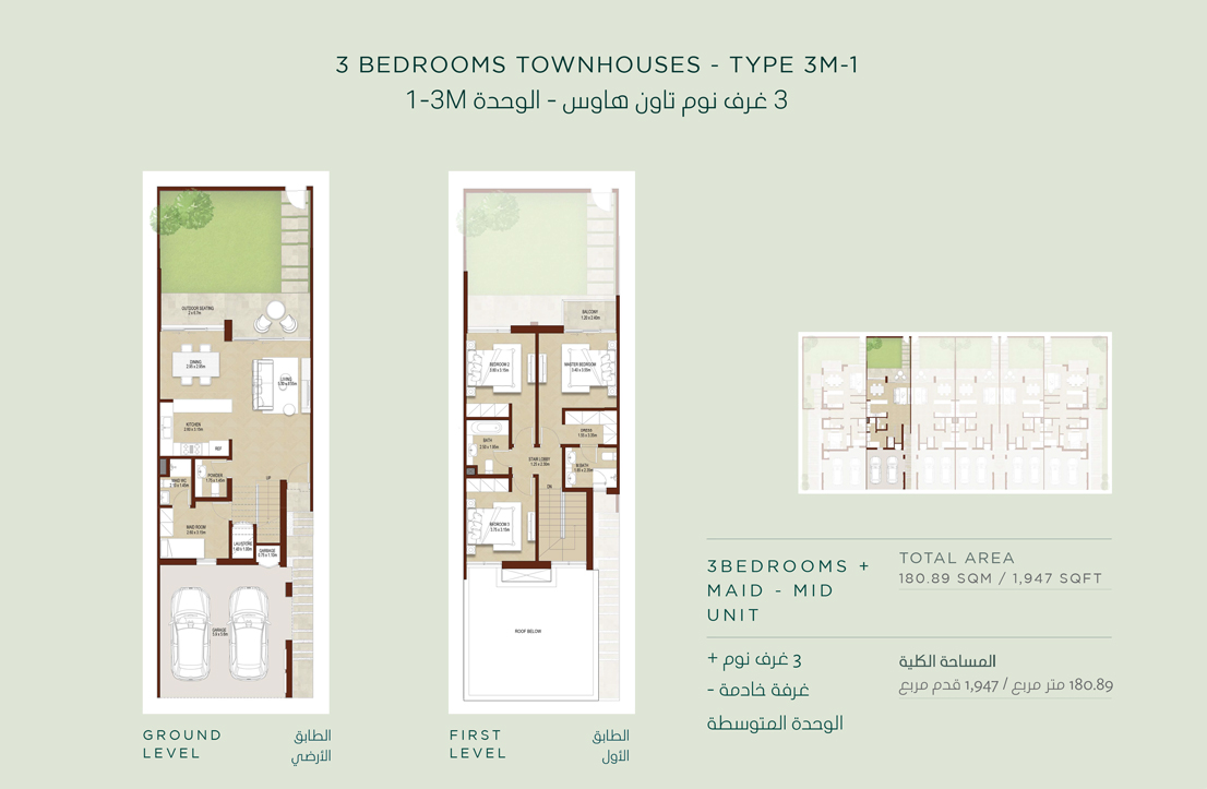 3 Bedroom Townhouses Type 3 M 1 Size 1947 sq.ft