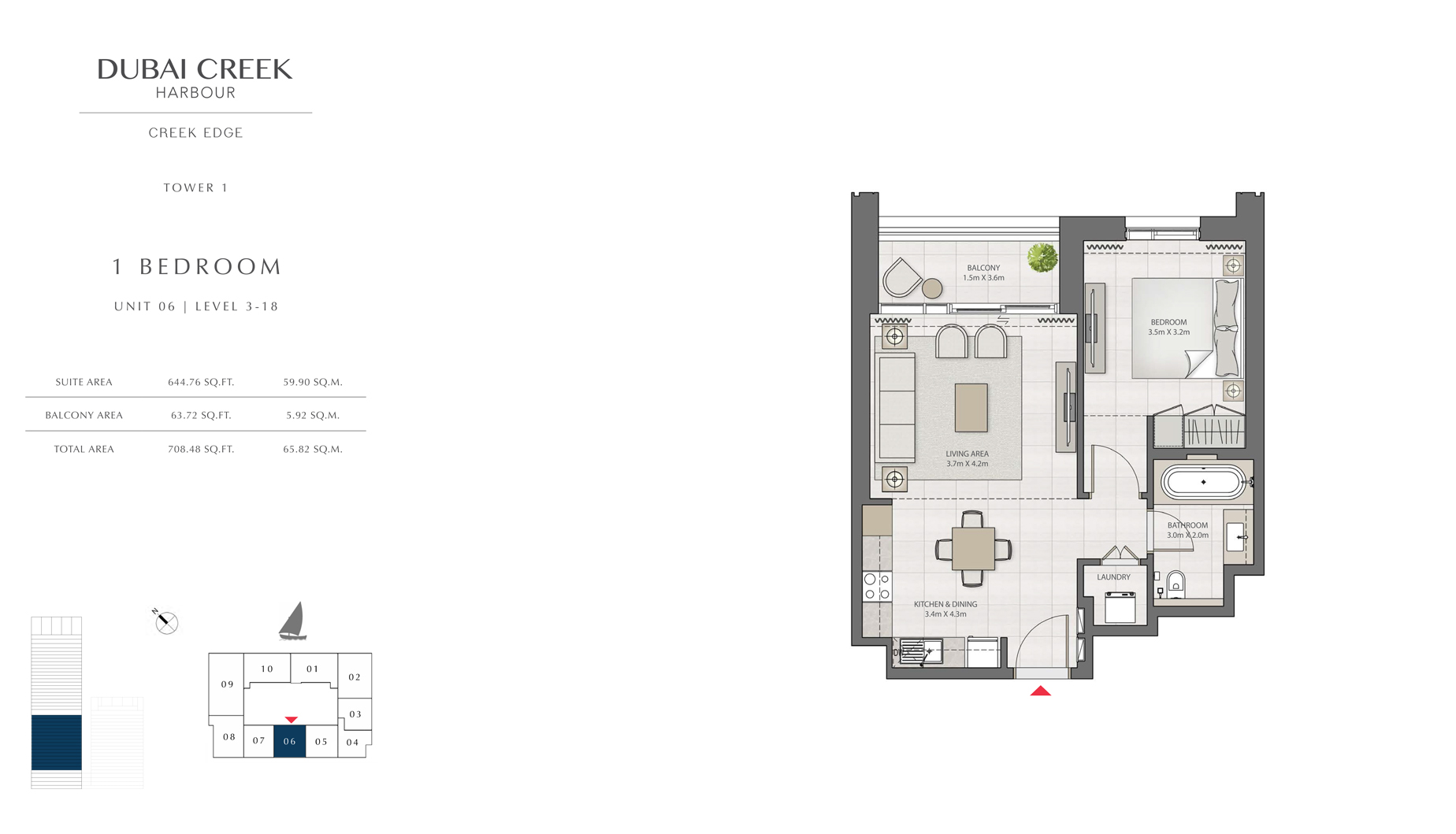 1 Bedroom Tower 1 Unit 06 Level 3-18  Size 708 sq.ft