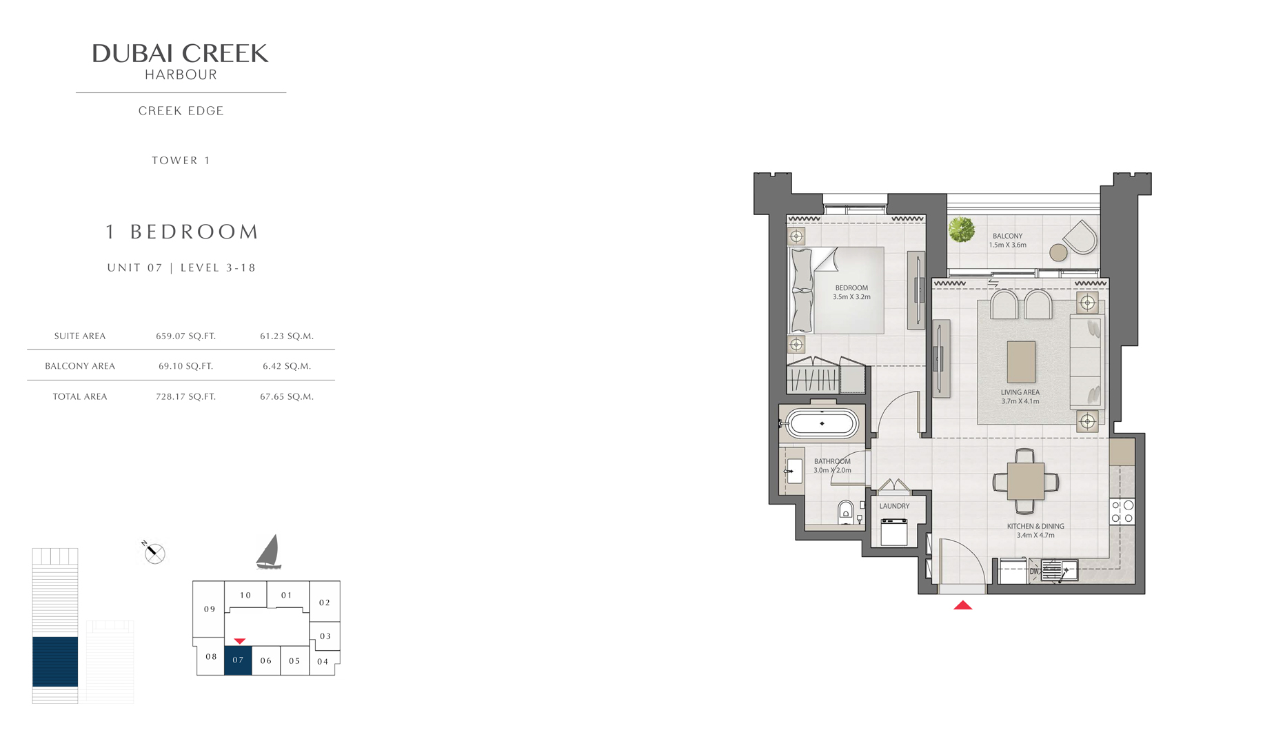 1 Bedroom Tower 1 Unit 07 Level 3-18  Size 728 sq.ft