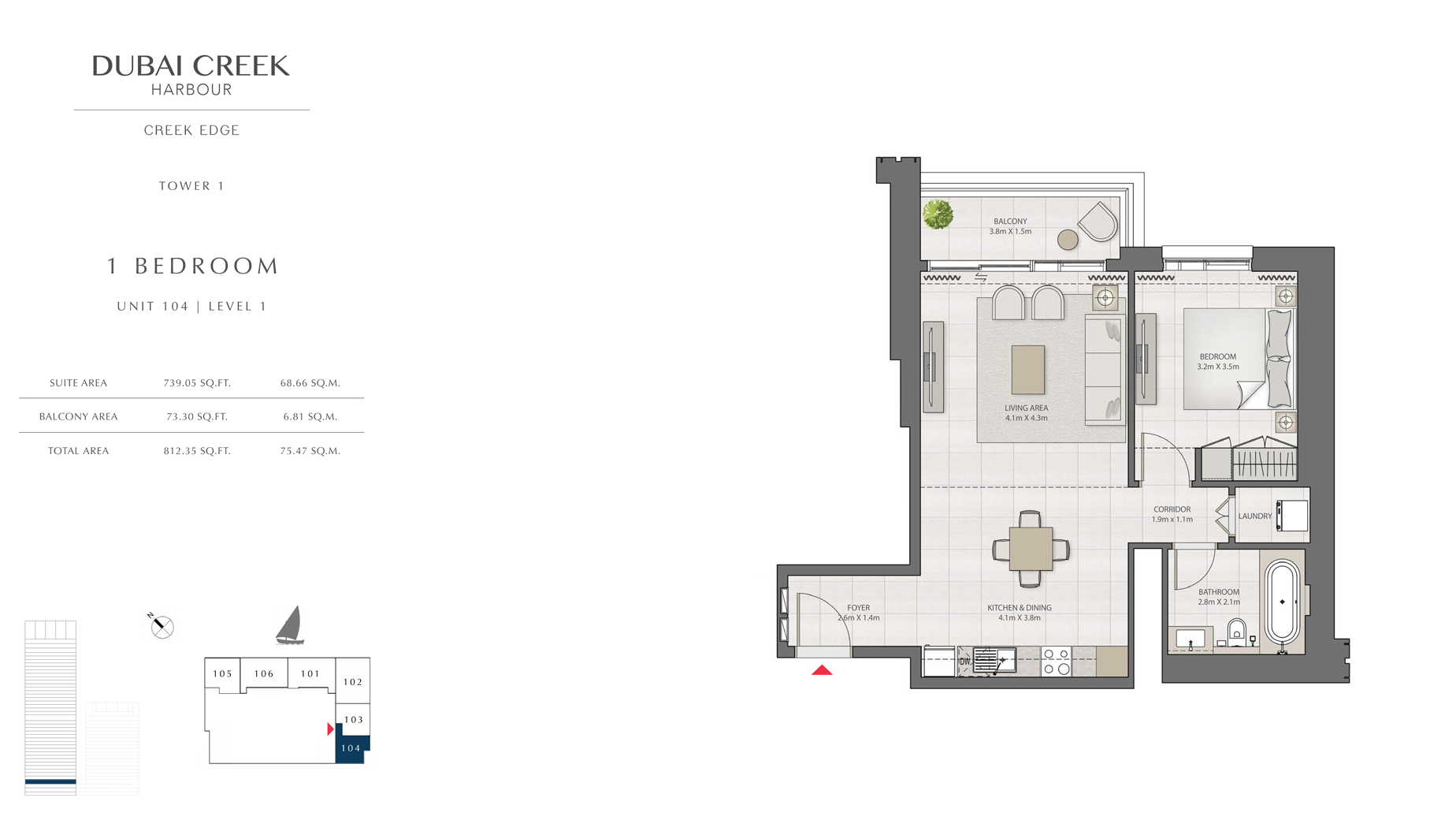 1 Bedroom Tower 1 Unit 104 Level 1 Size 812 sq.ft