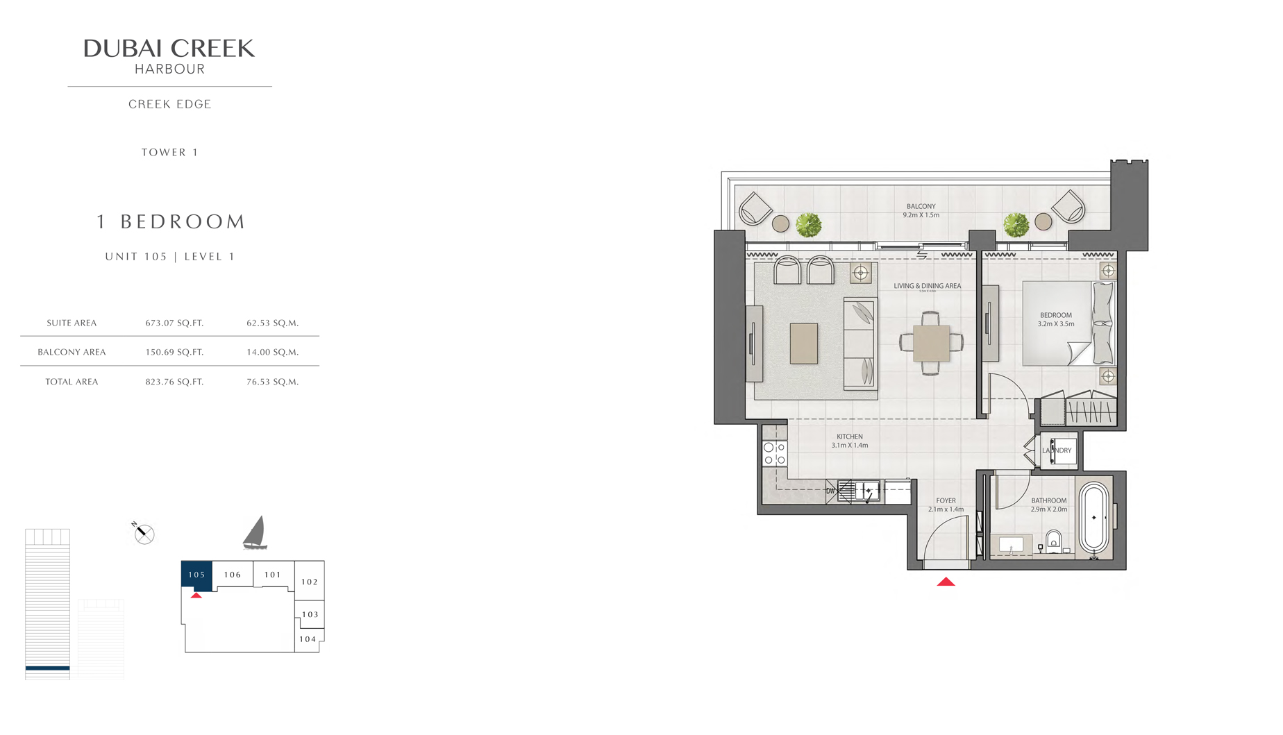 1 Bedroom Tower 1 Unit 105 Level 1 Size 823 sq.ft