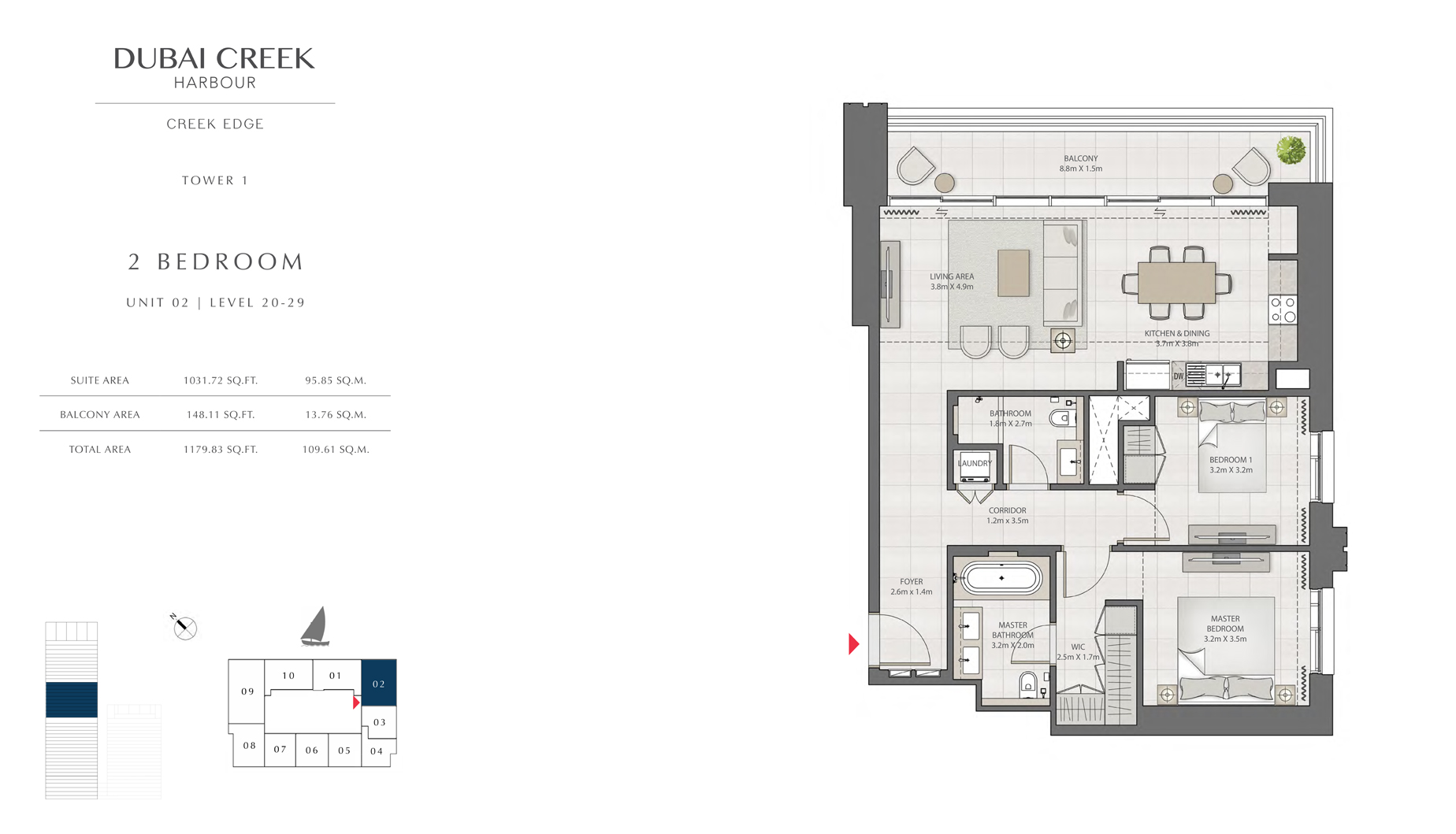 2 Bedroom Tower 1 Unit 02 Level 20-29  Size 1179 sq.ft