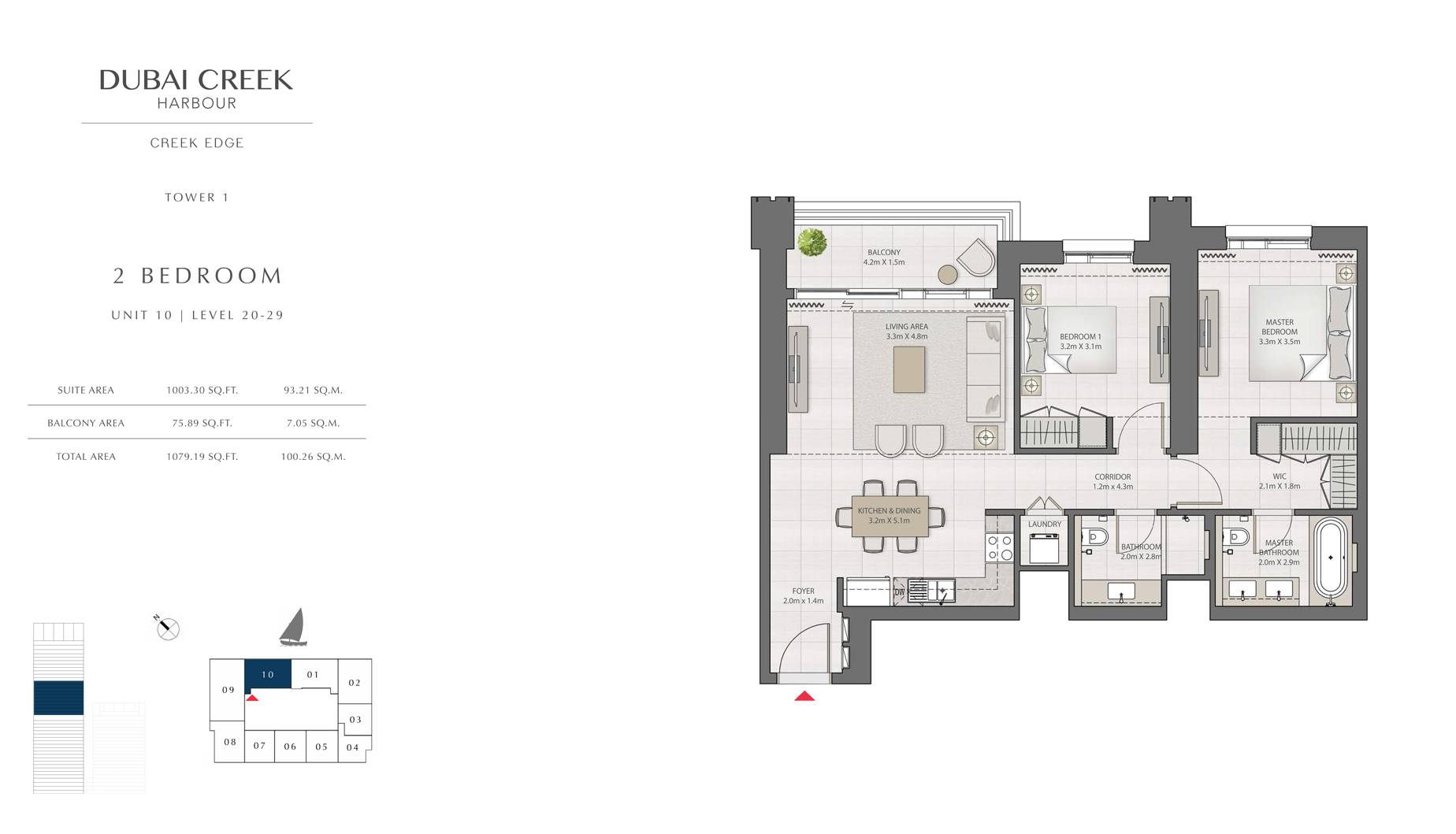 2 Bedroom Tower 1 Unit 10 Level 20-29 Size 1079 sq.ft