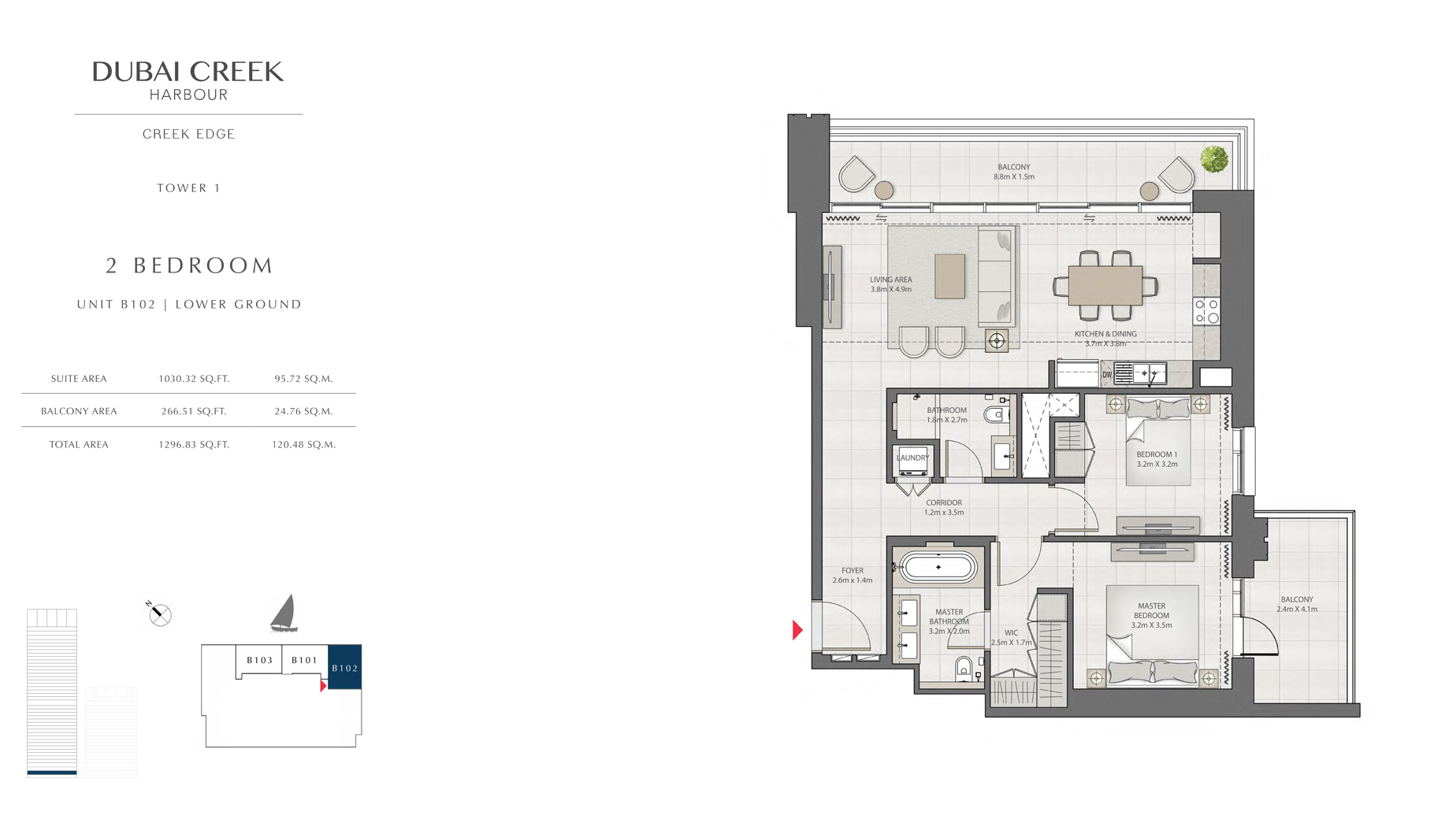 2 Bedroom Tower 1 Unit B102 Level G Size 1296 sq.ft
