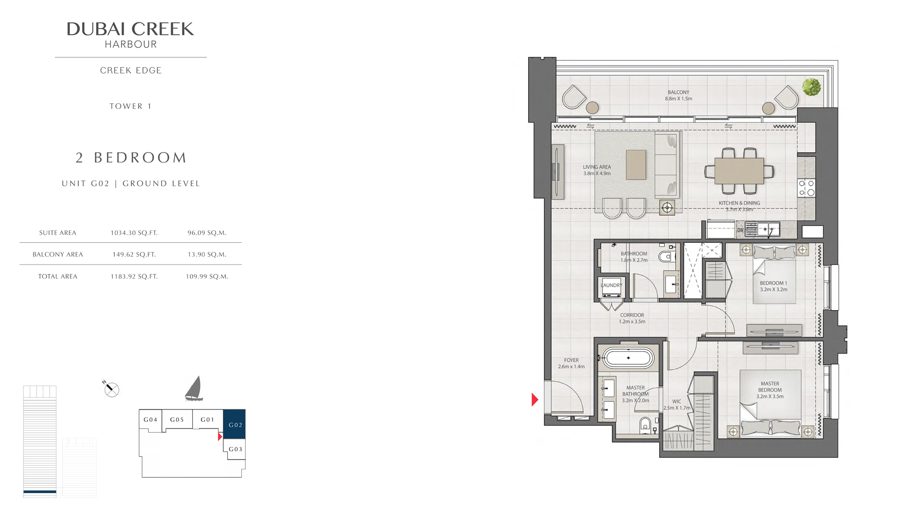 2 Bedroom Tower 1 Unit G02 Level G Size 1183 sq.ft