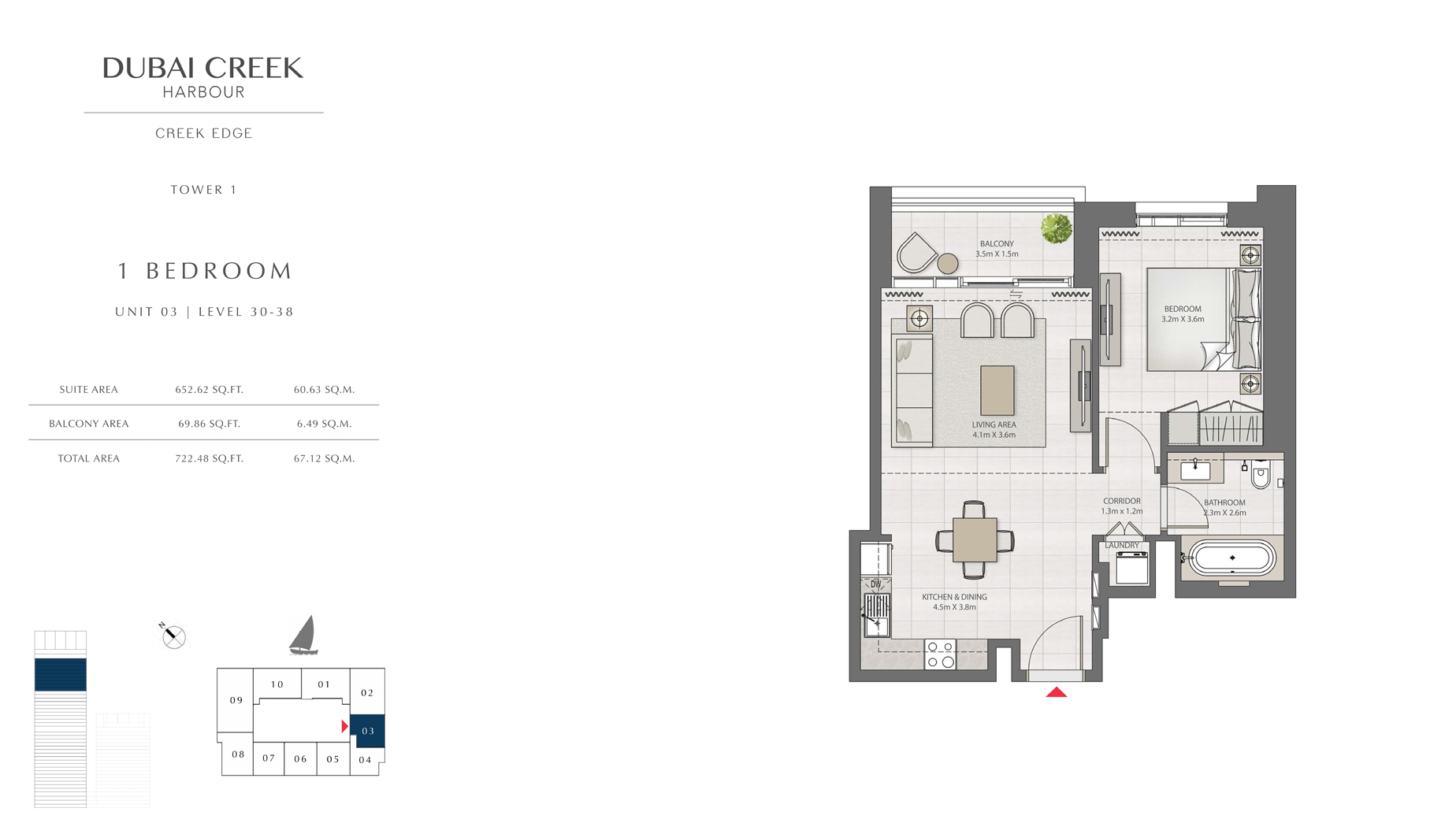 1 Bedroom Tower 1 Unit 03 Level 30-38 Size 722 sq.ft