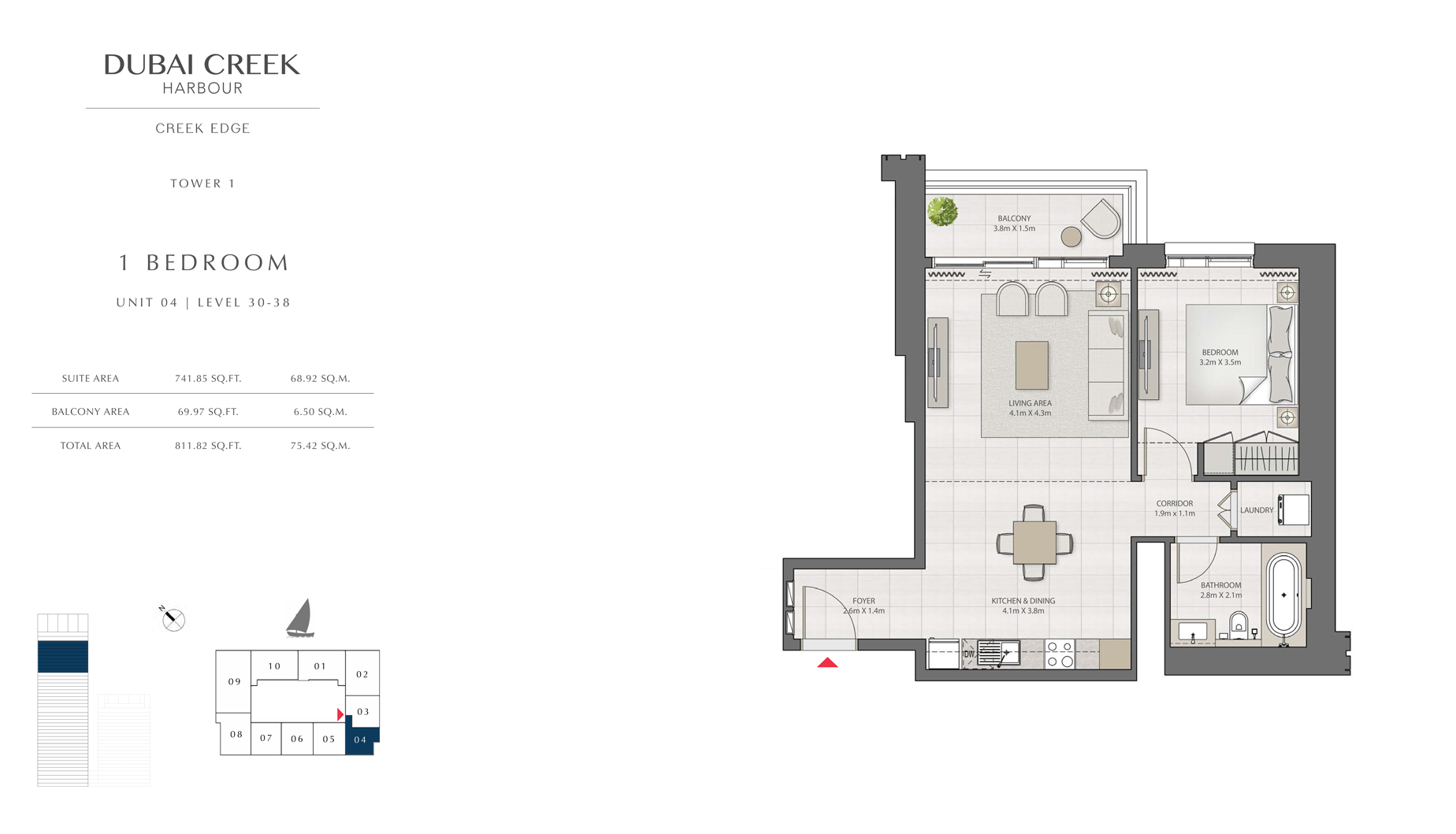 1 Bedroom Tower 1 Unit 04 Level 30-38 Size 811 sq.ft