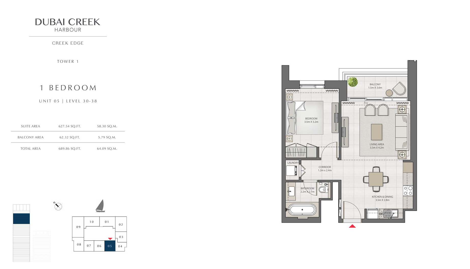 1 Bedroom Tower 1 Unit 05 Level 30-38 Size 689 sq.ft