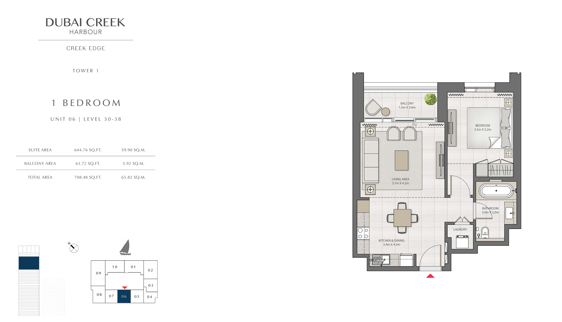 1 Bedroom Tower 1 Unit 06 Level 30-38 Size 708 sq.ft