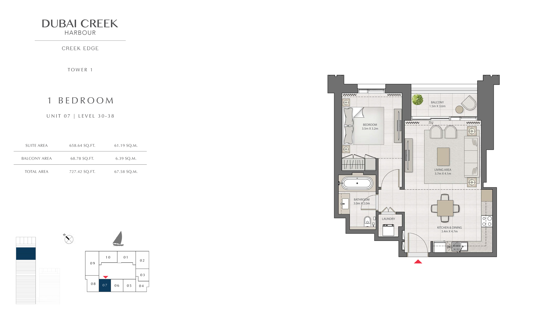 1 Bedroom Tower 1 Unit 07 Level 30-38 Size 727 sq.ft