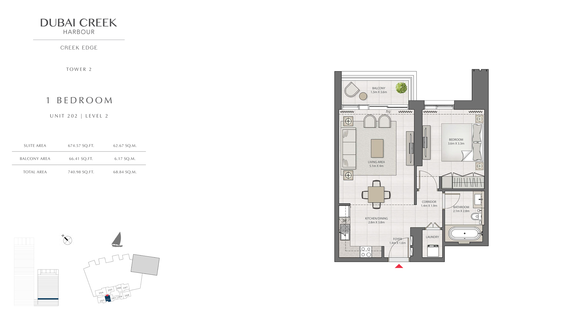 1 Bedroom Tower 2 Unit 202 Level 2 Size 740 sq.ft