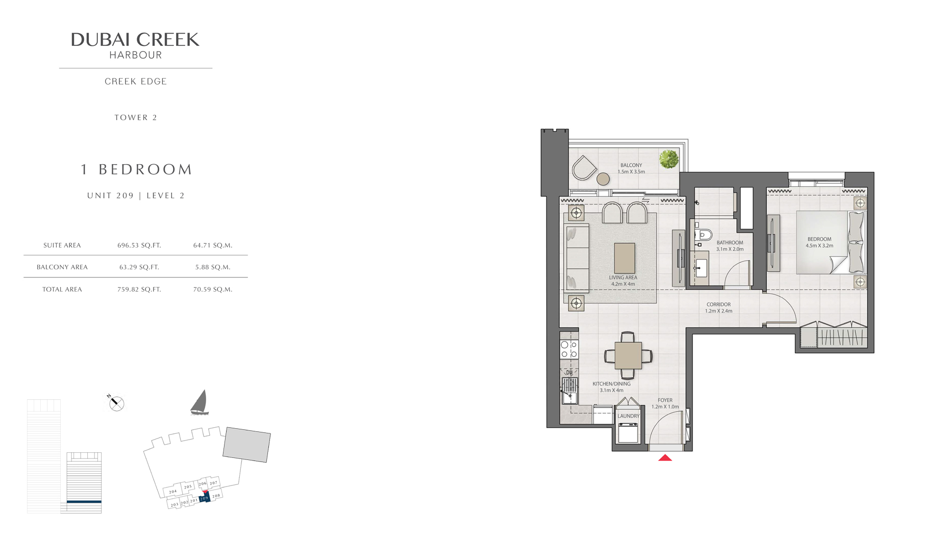 1 Bedroom Tower 2 Unit 209 Level 2 Size 759 sq.ft