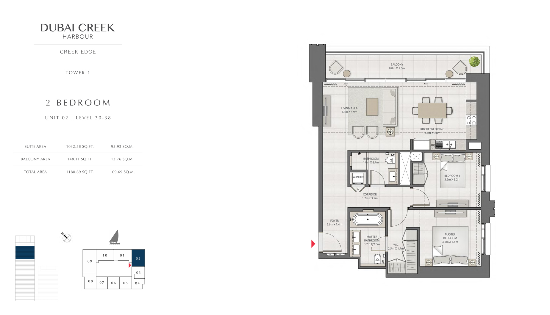 2 Bedroom Tower 1 Unit 02 Level 30-38 Size 1180 sq.ft