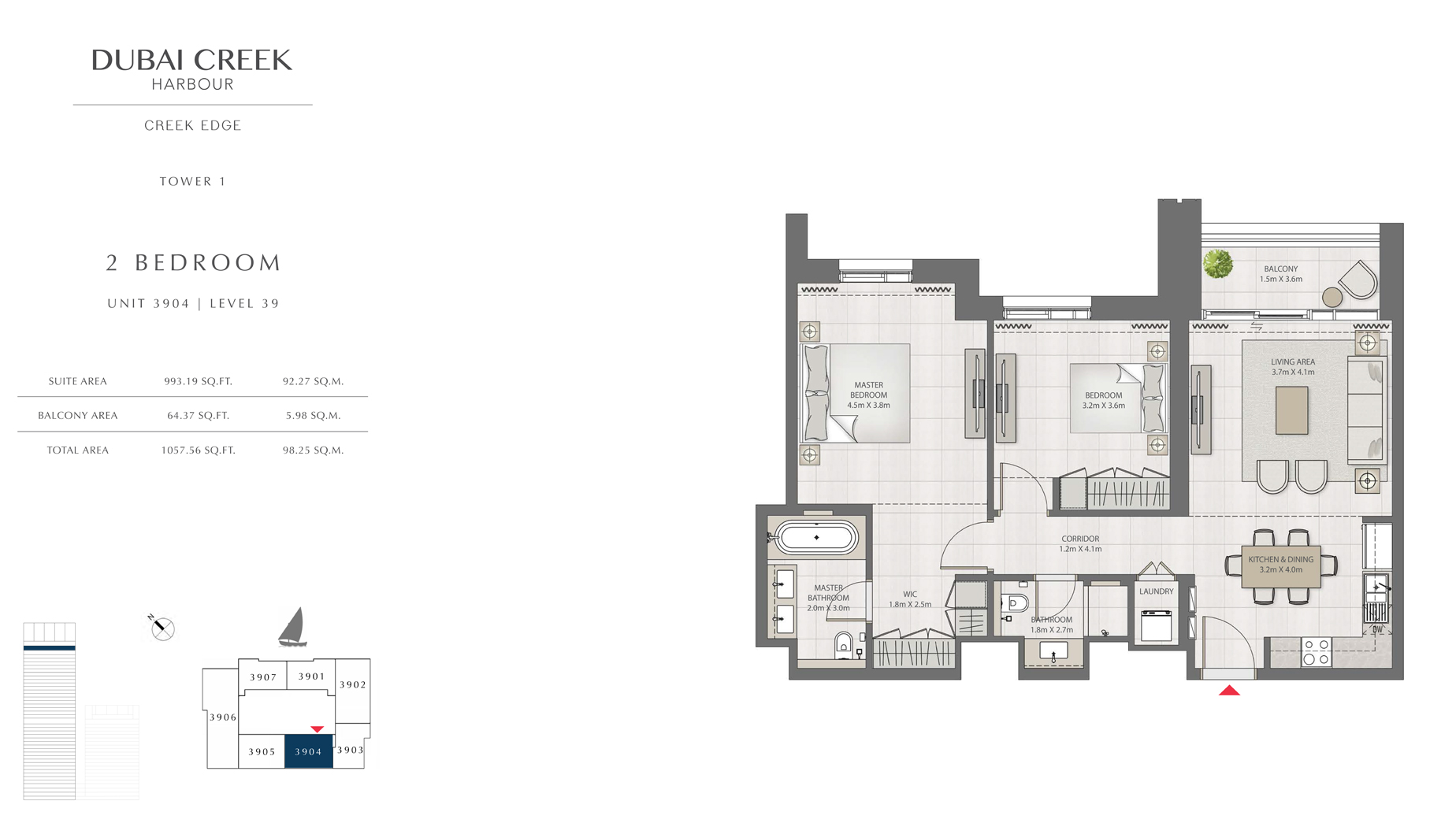 2 Bedroom Tower 1 Unit 3904 Level 39 Size 1057 sq.ft