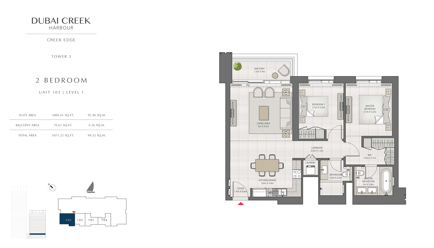 2 Bedroom Tower 2 Unit 103 Level 1 Size 1071 sq.ft