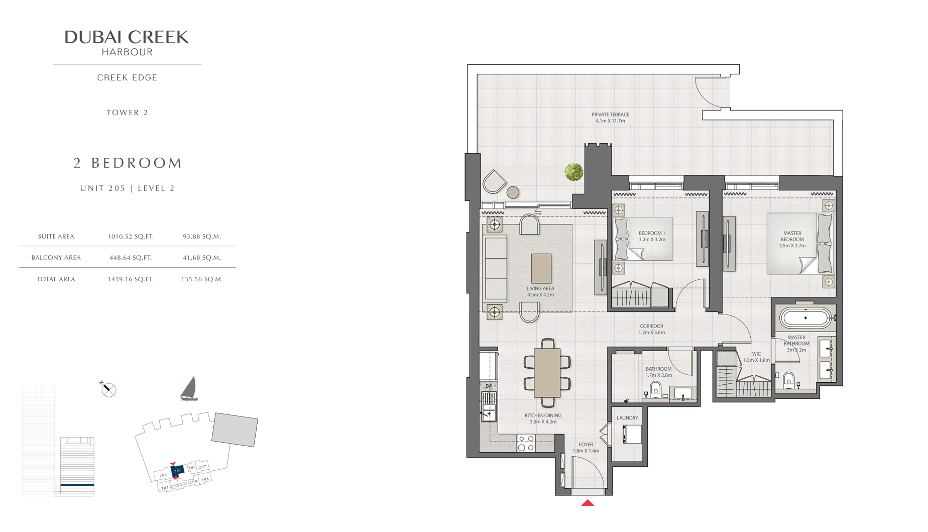 2 Bedroom Tower 2 Unit 205 Level 2 Size 1459 sq.ft